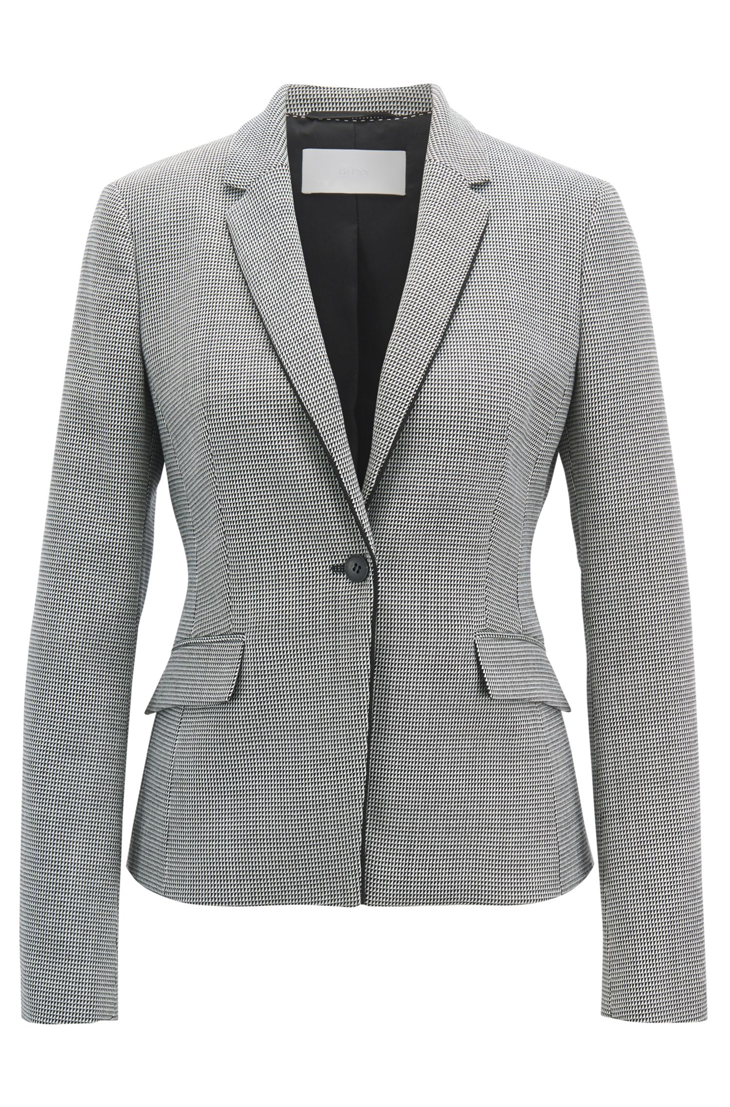 Regular-fit blazer in pepita-patterned virgin wool blend