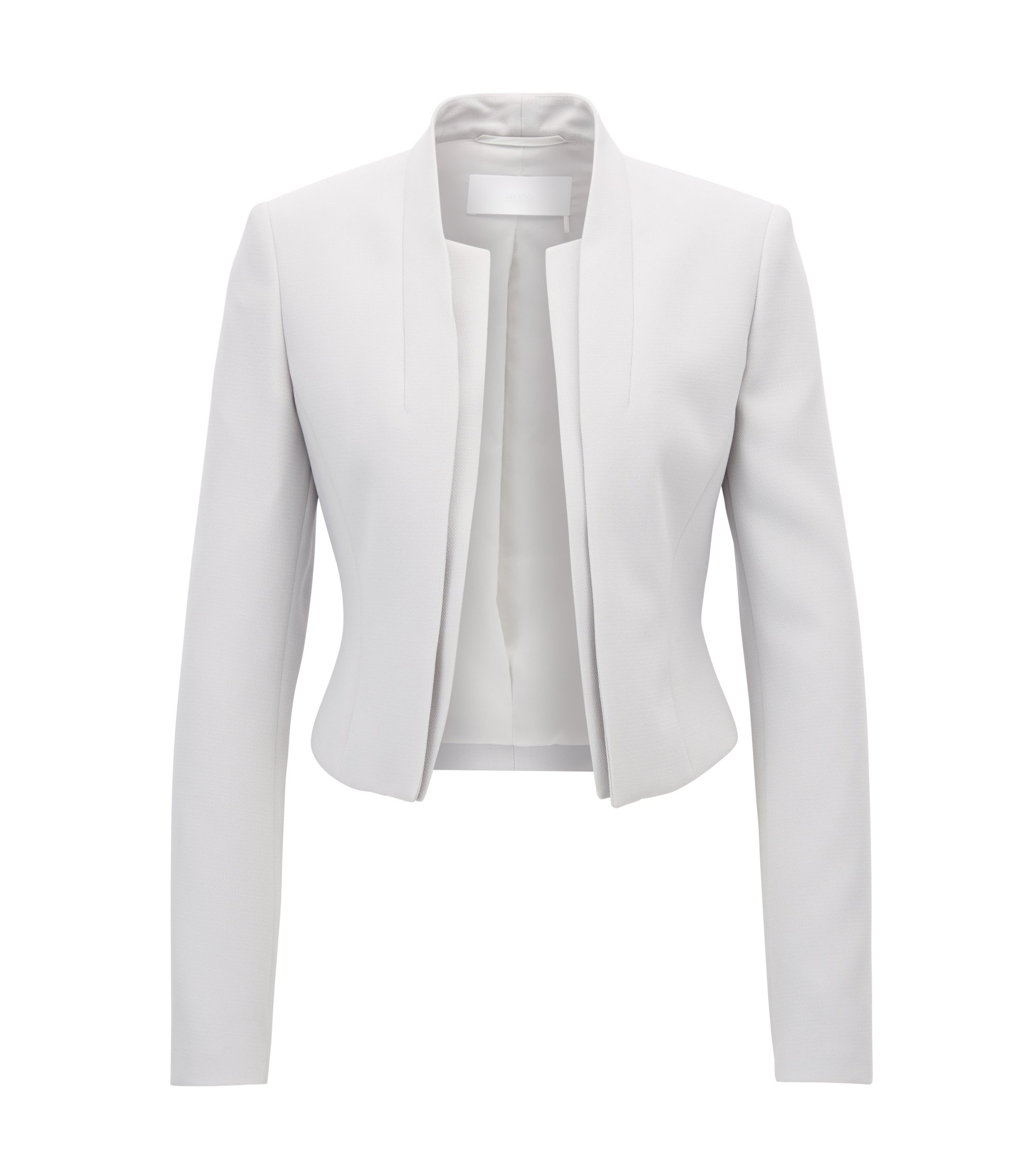 Regular-fit cropped jacket with layered effect, Silver