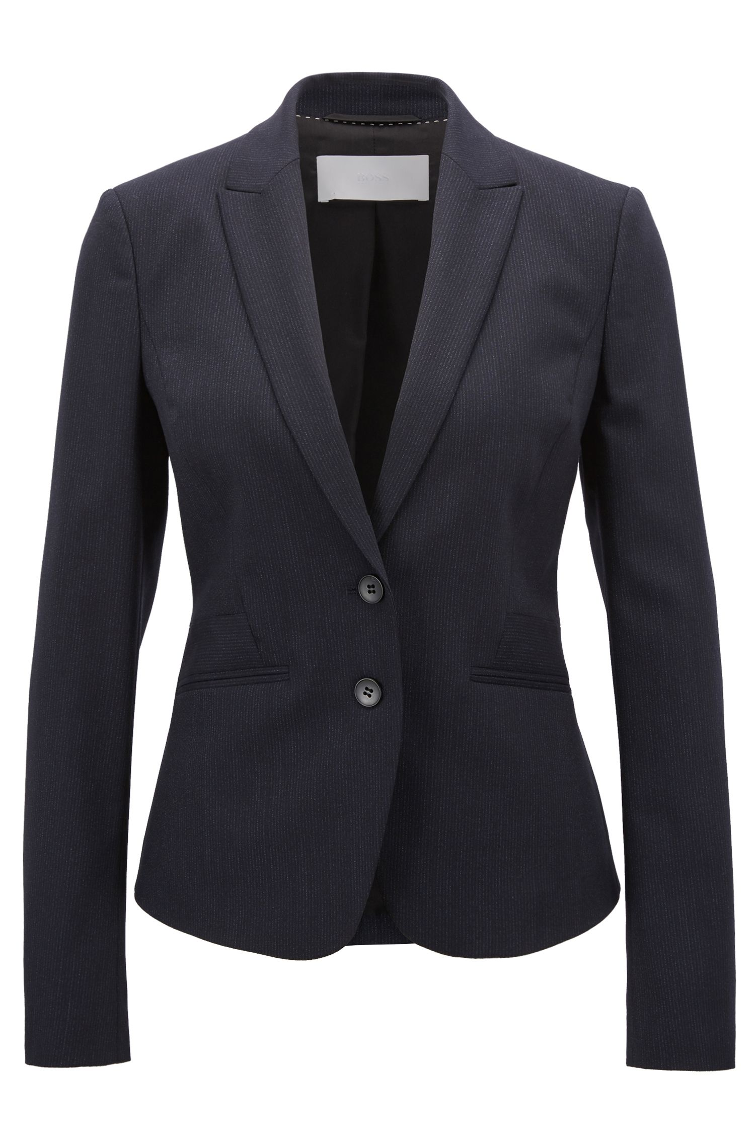 Regular-fit blazer in stretch virgin wool, Patterned