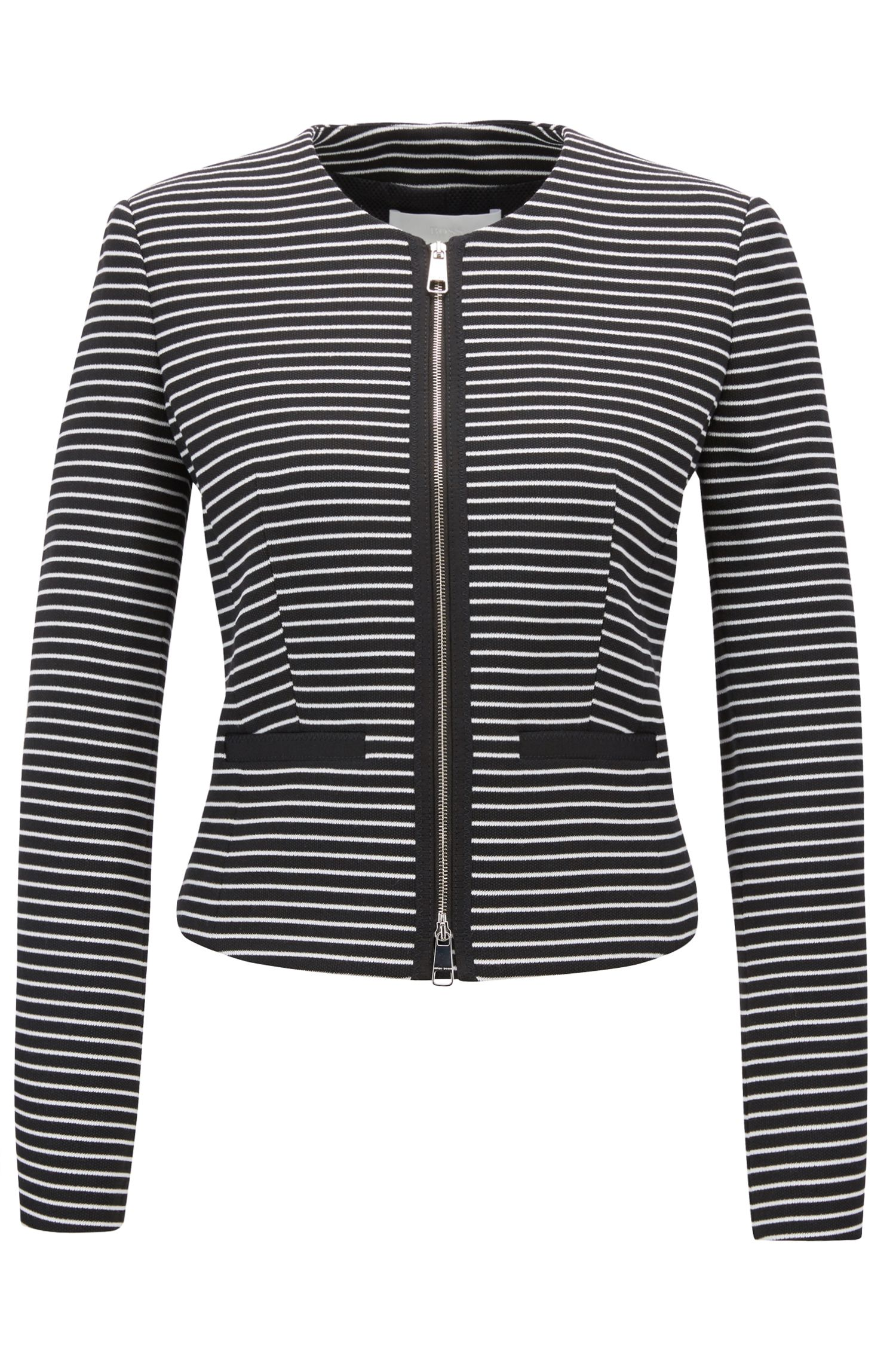 Regular-fit cropped jersey jacket with stripes, Patterned