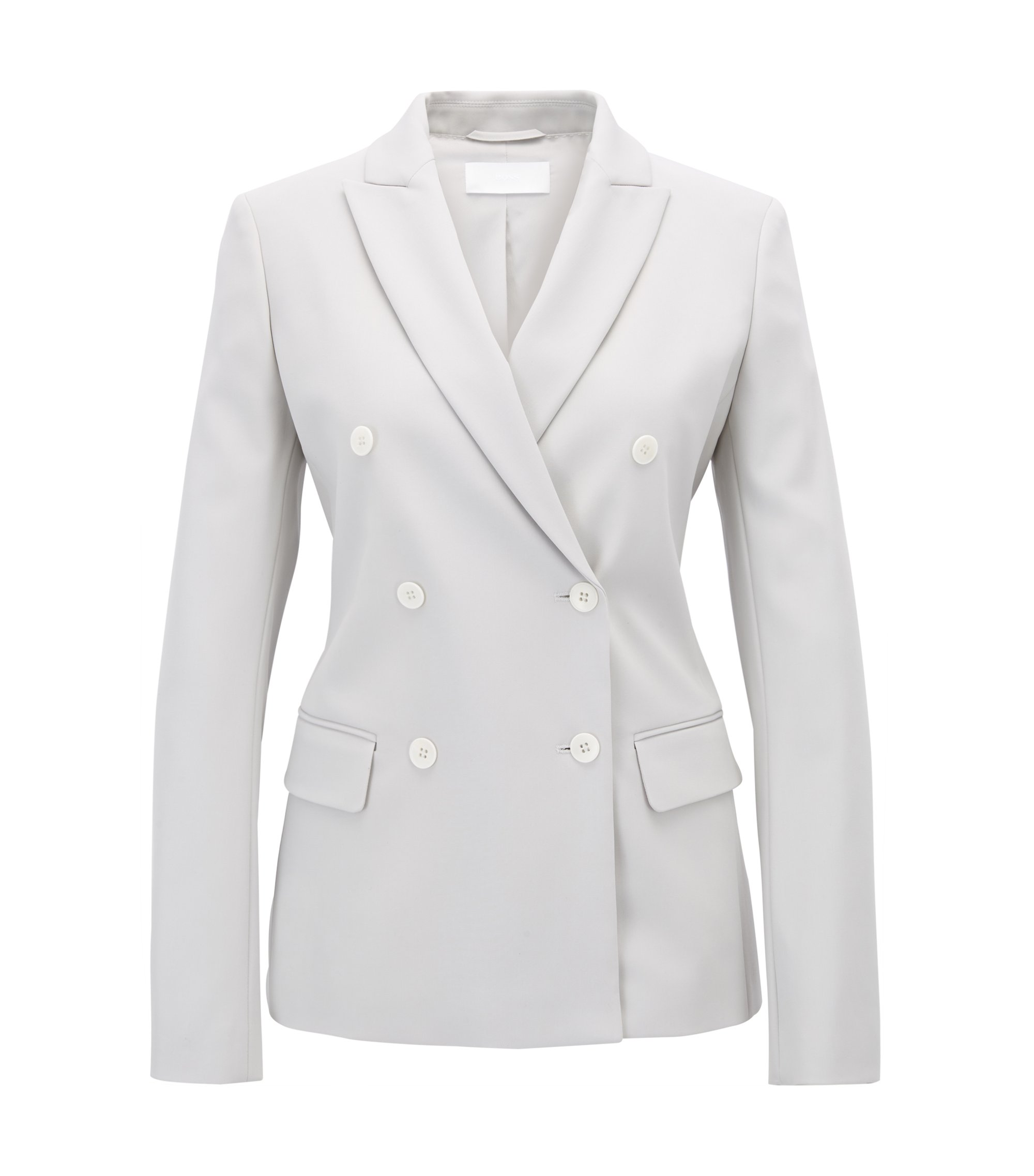Double-breasted blazer in a stretch virgin-wool blend, Silver