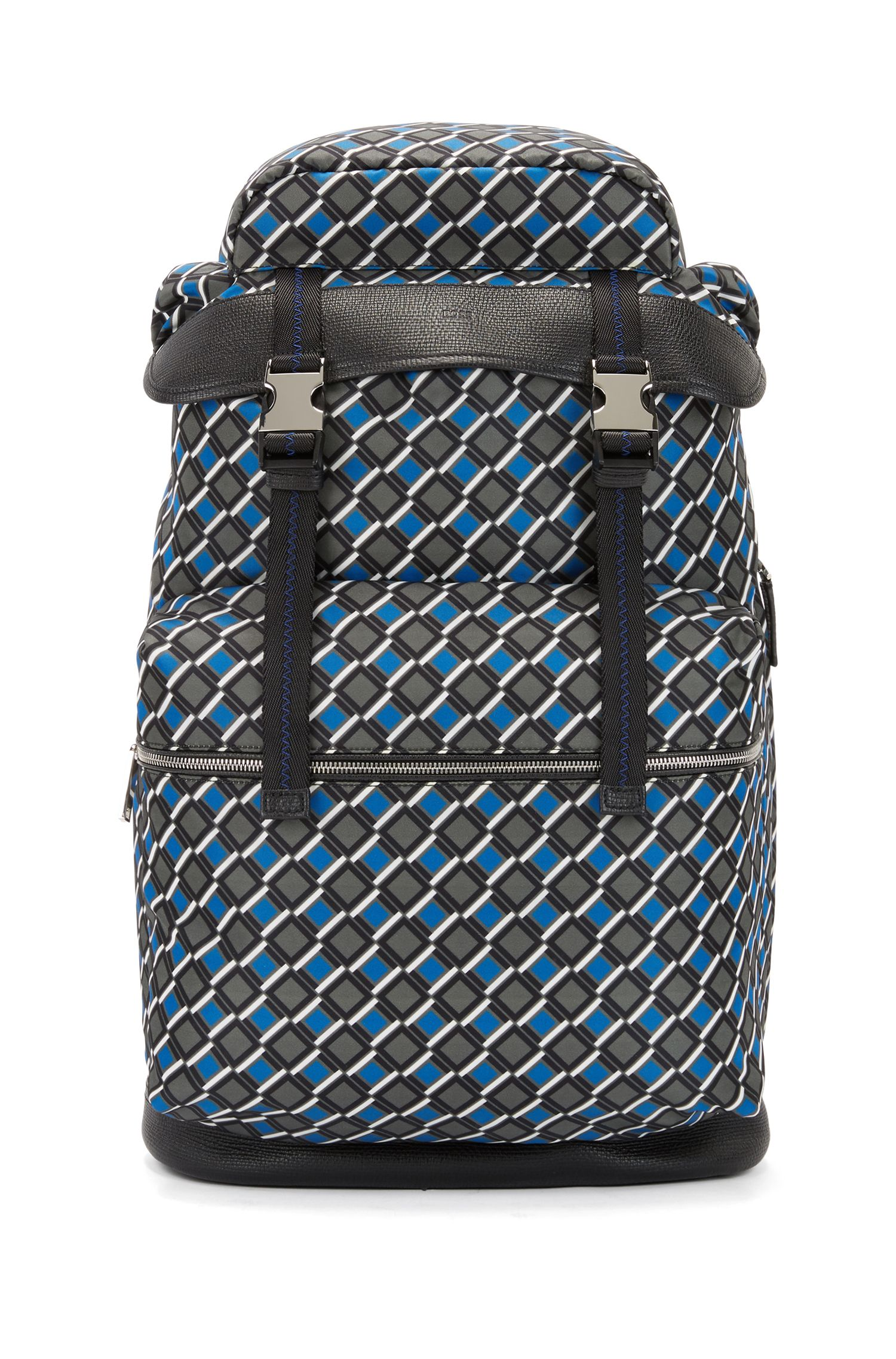 Printed backpack in nylon gabardine with calf-leather trims, Patterned