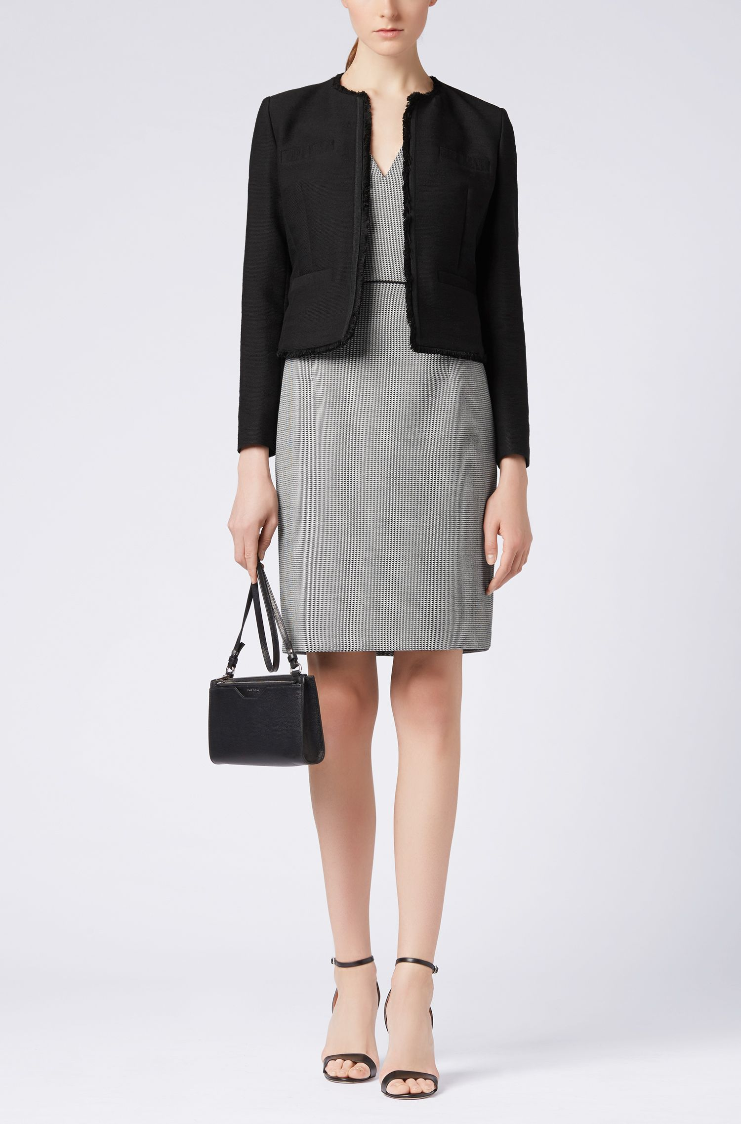 Regular-fit jacket in tailored stretch-cotton tweed, Black