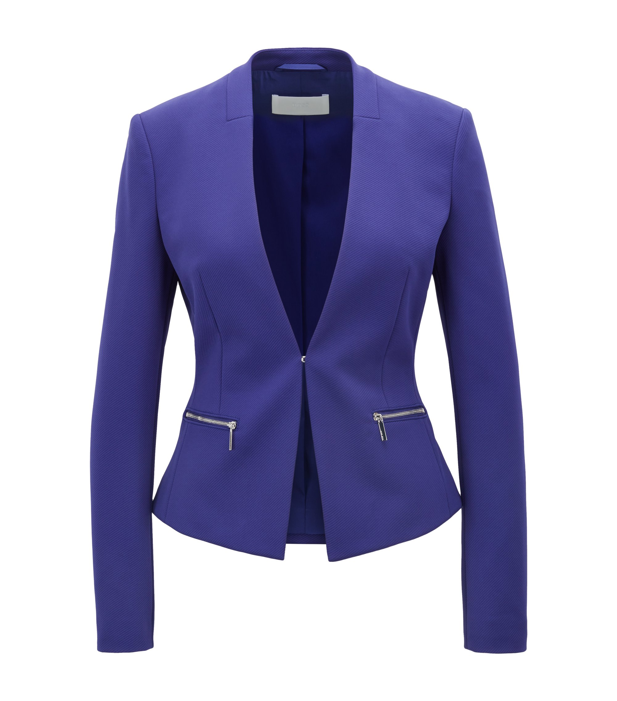 Slim-fit twill jacket with zippered pockets, Open Purple