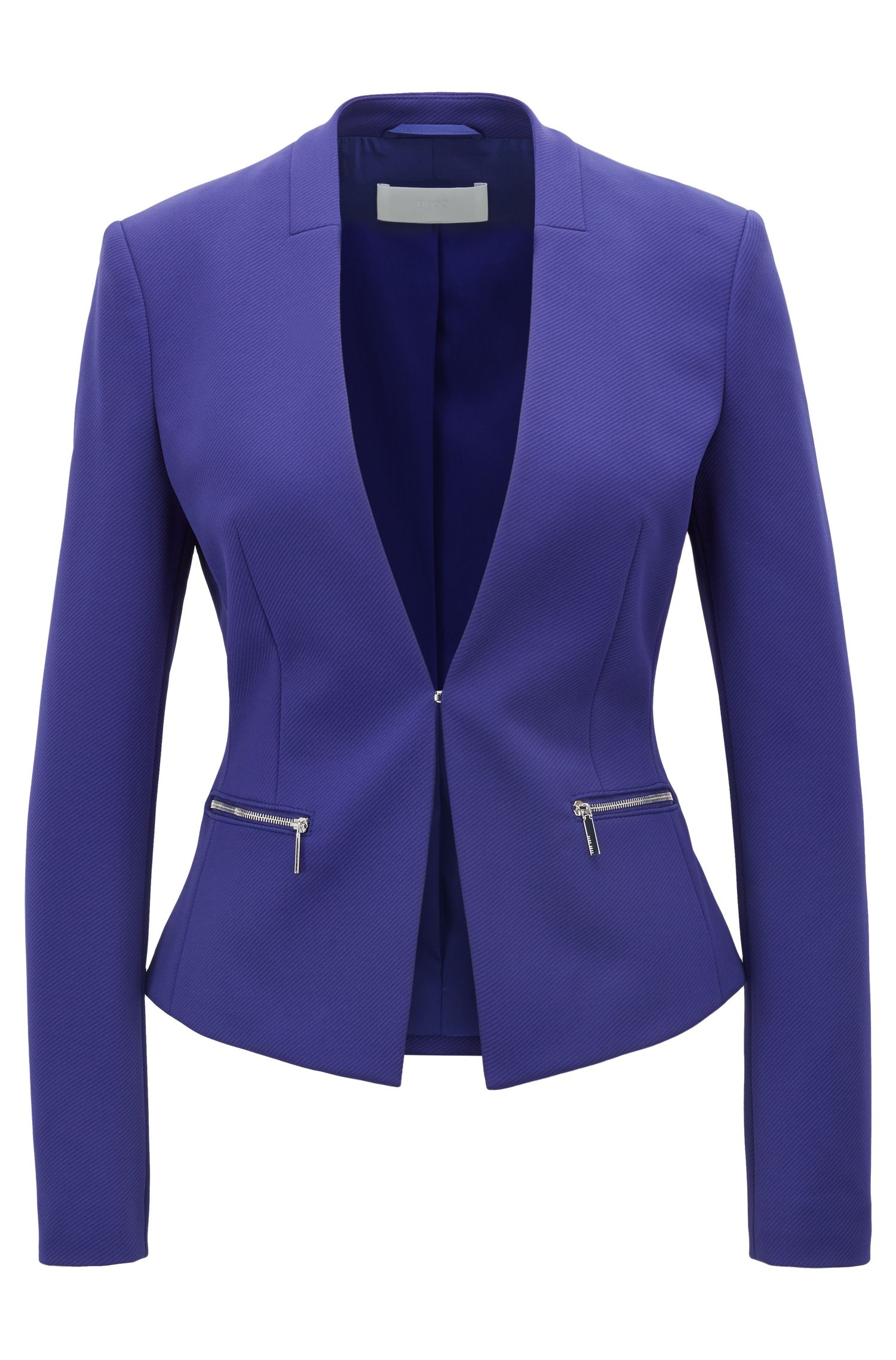 Slim-fit twill jacket with zippered pockets