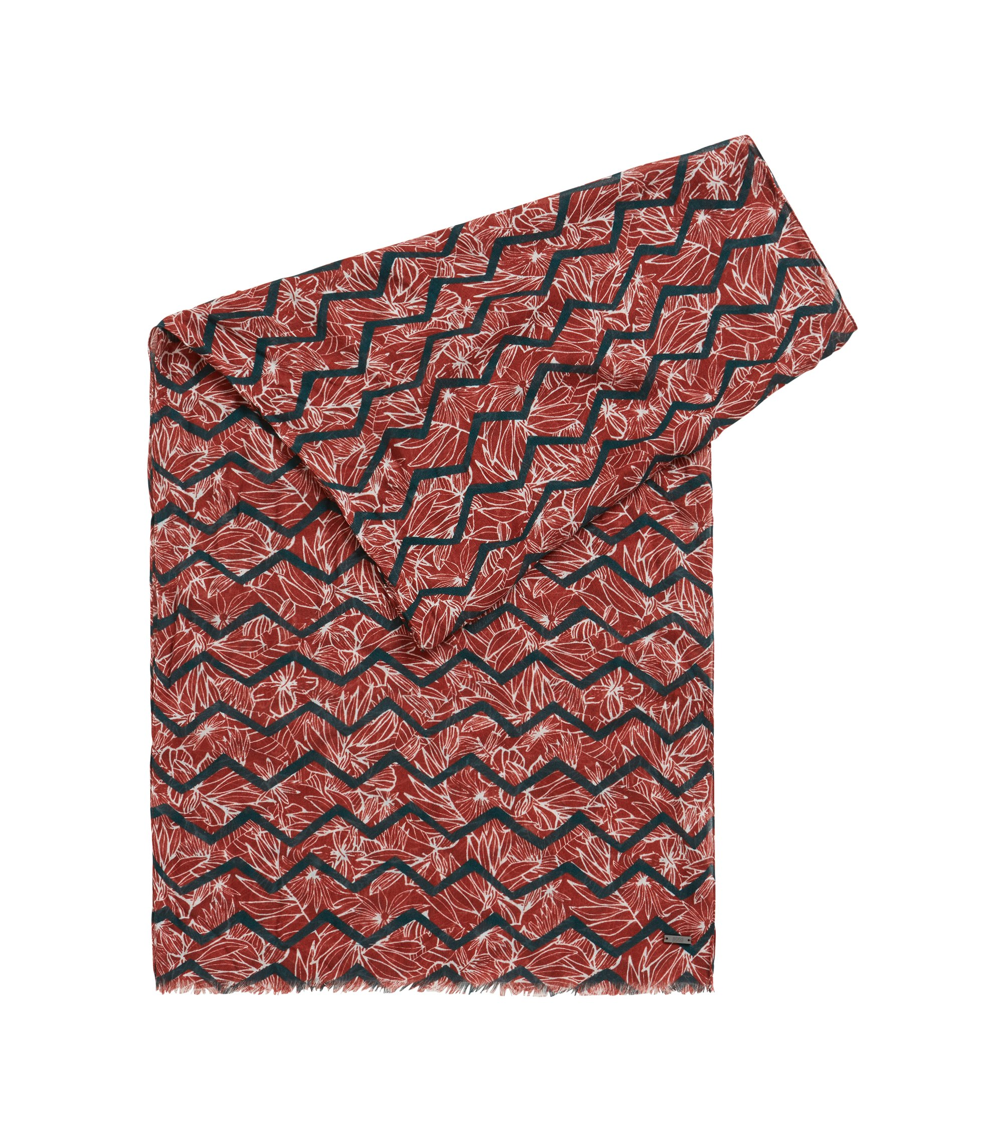 Patterned scarf with fringed edge, Open Red