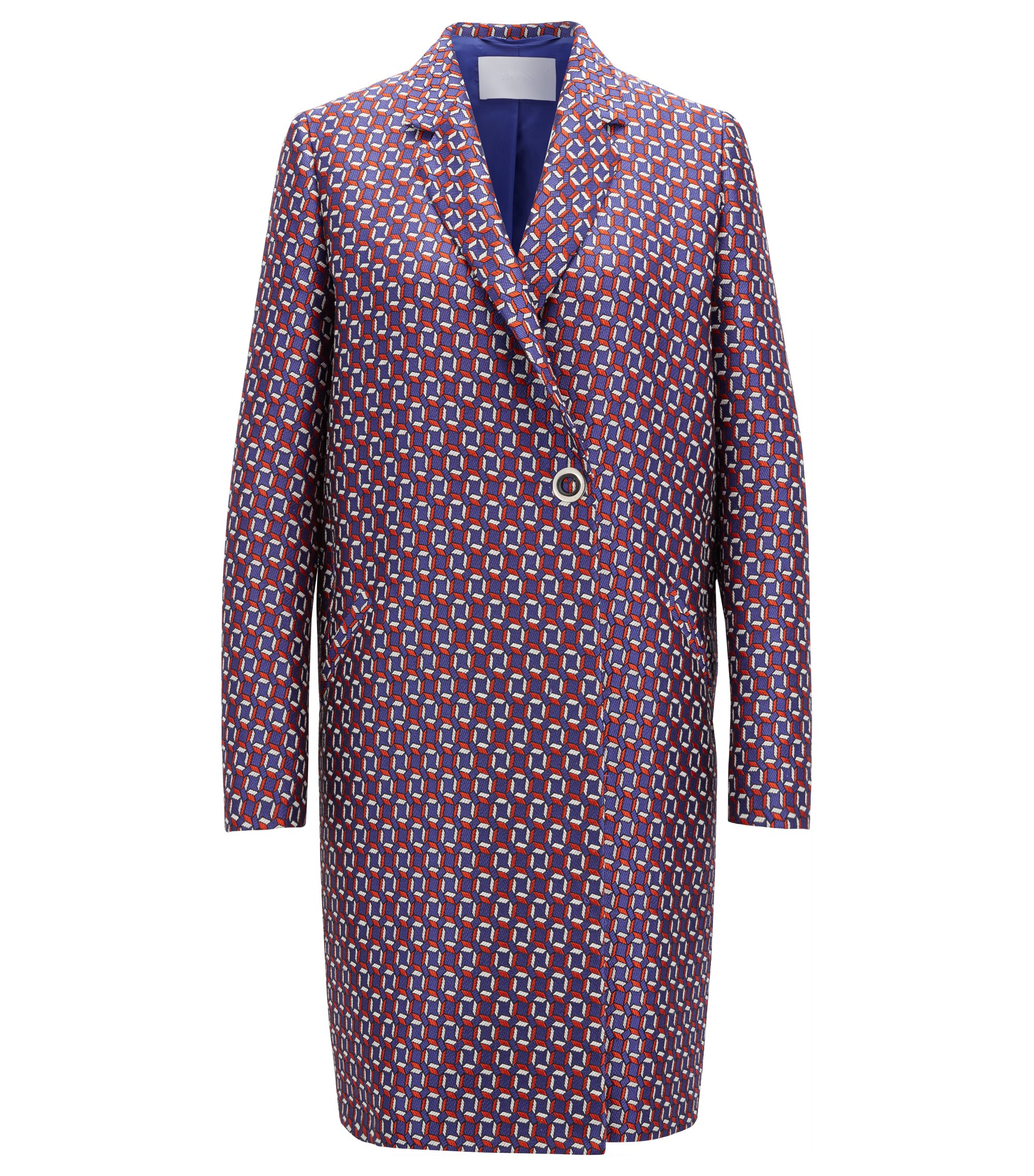 Relaxed-fit coat with all-over scarf-inspired print, Patterned