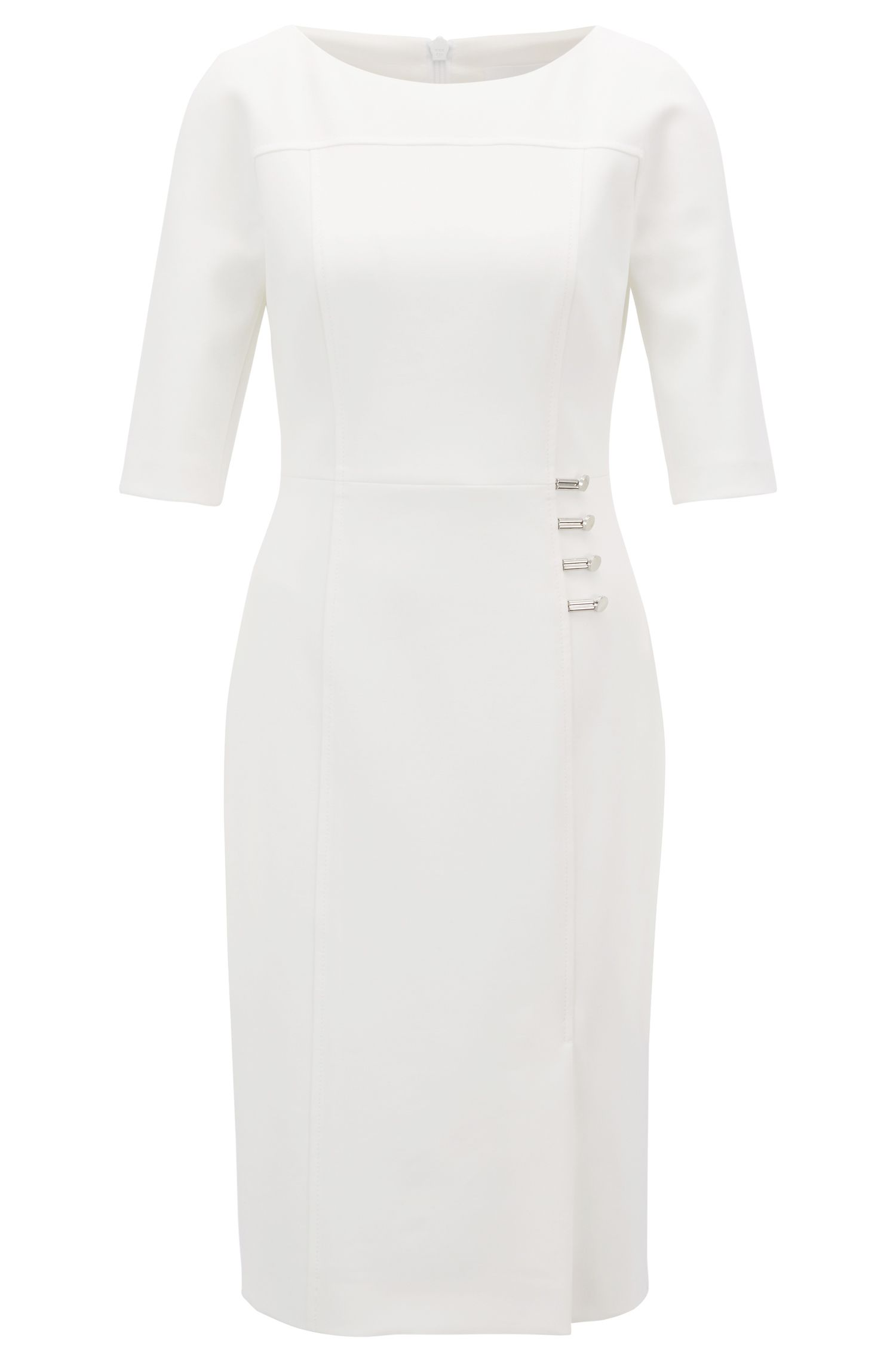 Three-quarter-sleeve dress with button detailing, Natural