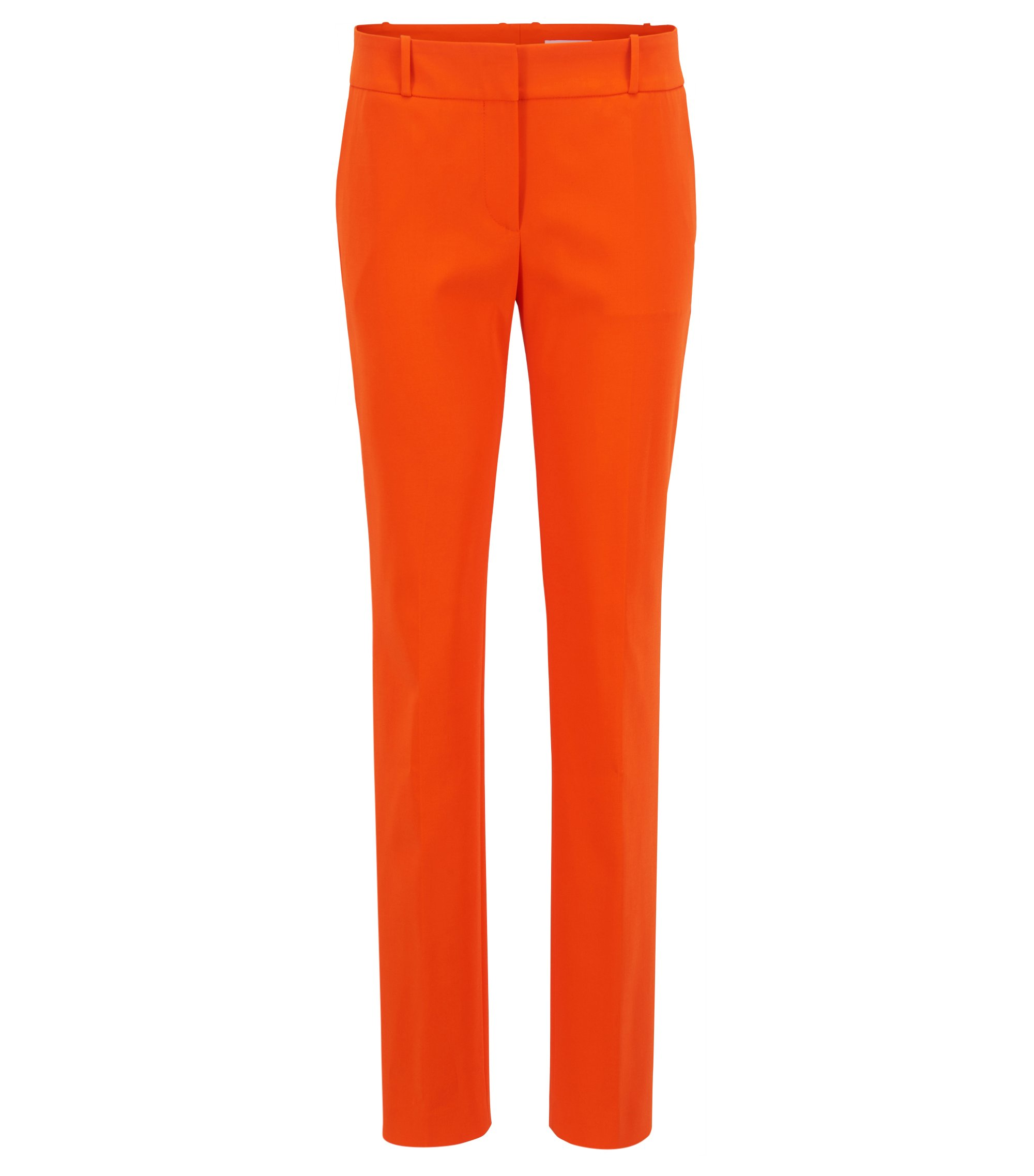 Regular-fit pants in a stretch virgin-wool blend, Orange