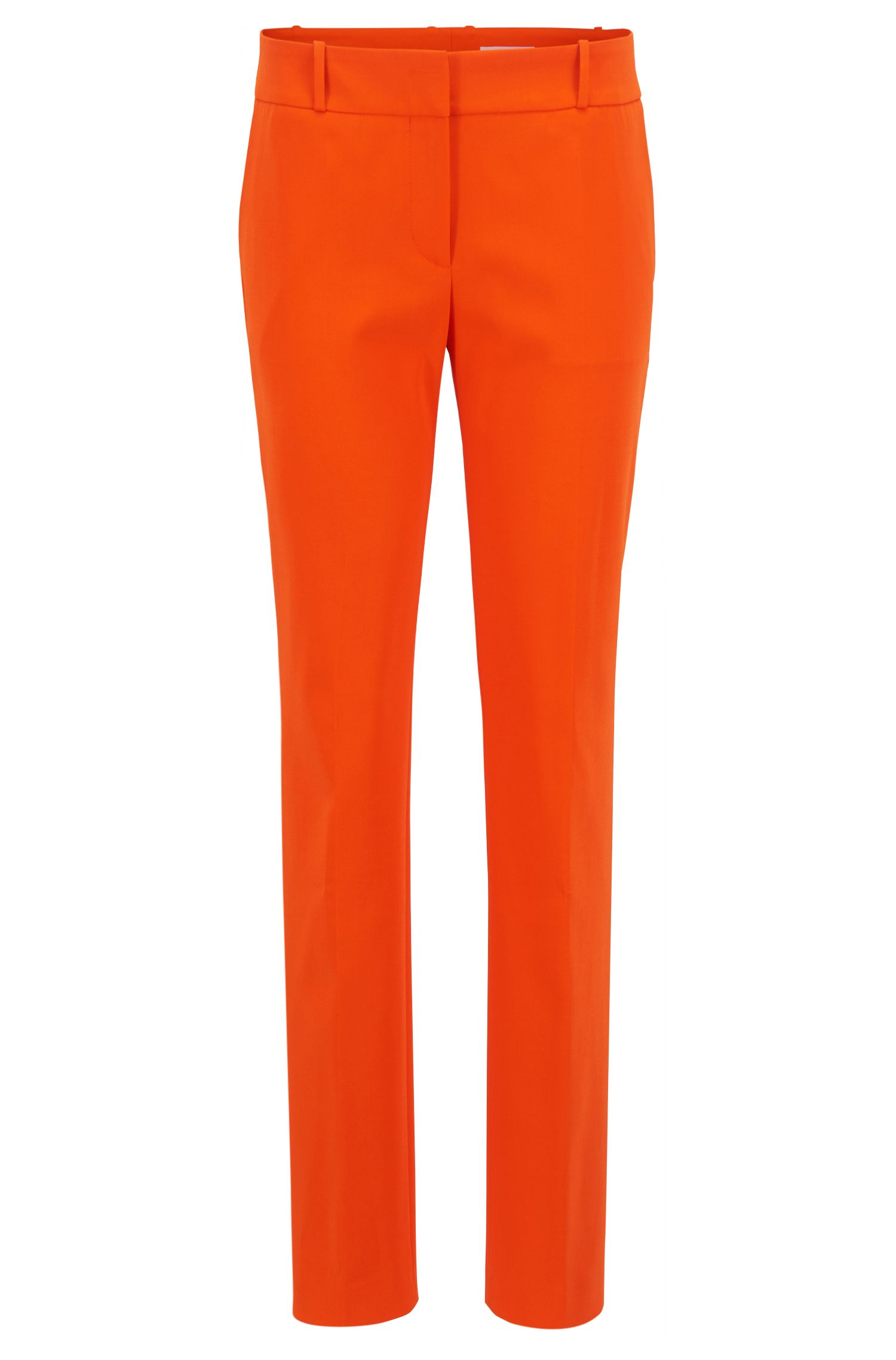 Regular-fit pants in a stretch virgin-wool blend, Orange