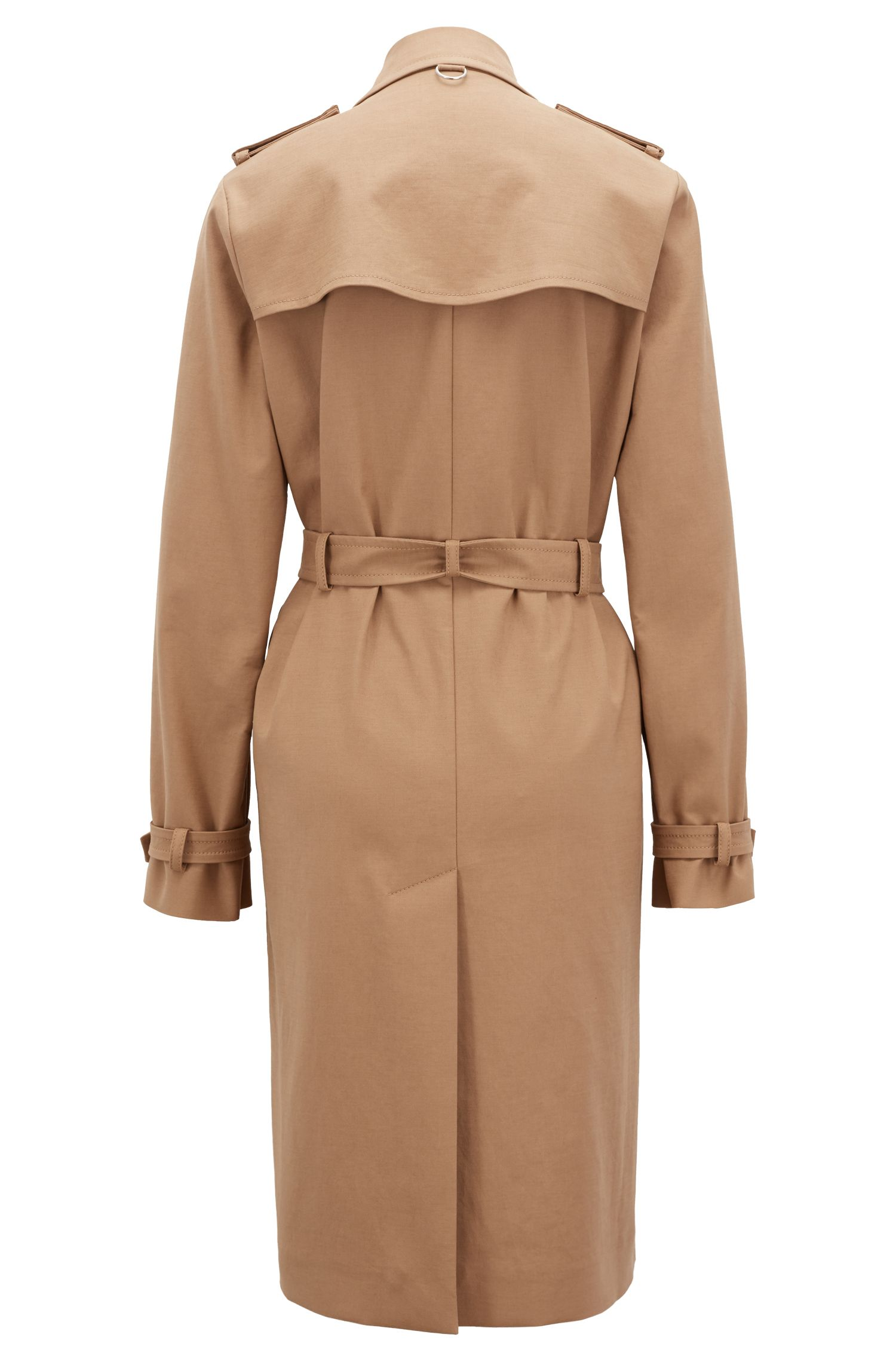 Trench coat in stretch cotton with hardware details, Beige