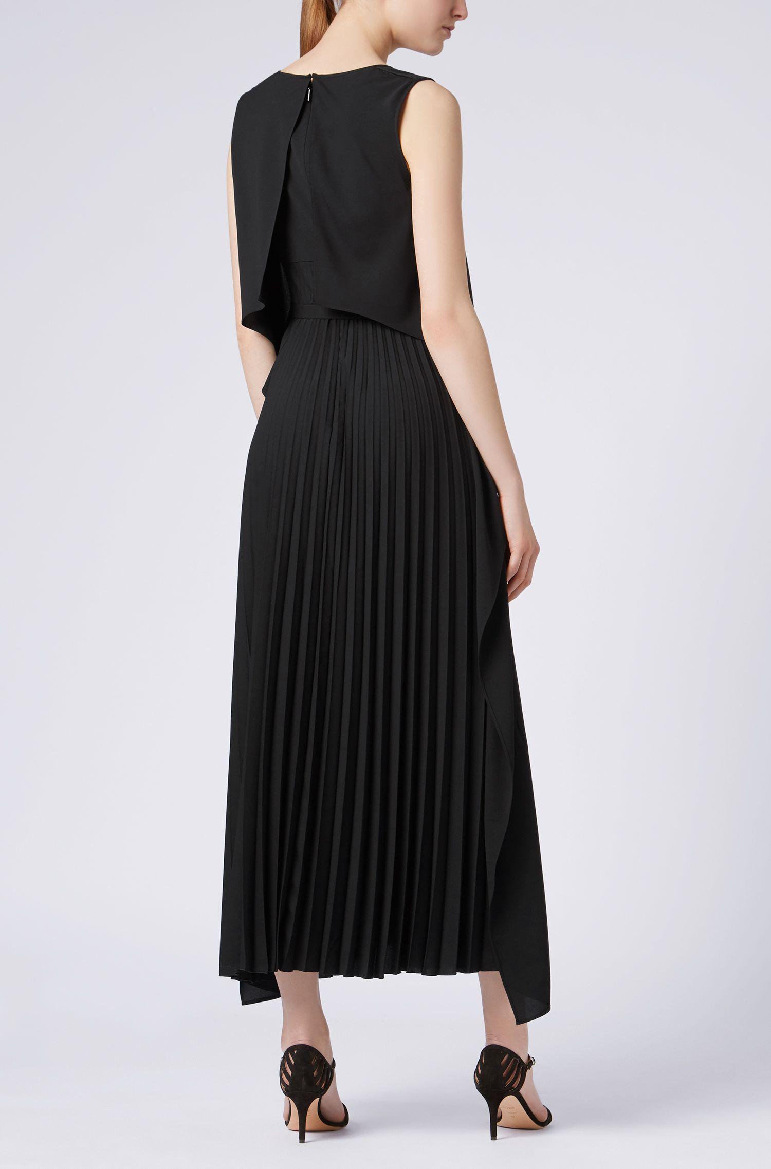 Layered crepe maxi dress with plissé skirt, Black