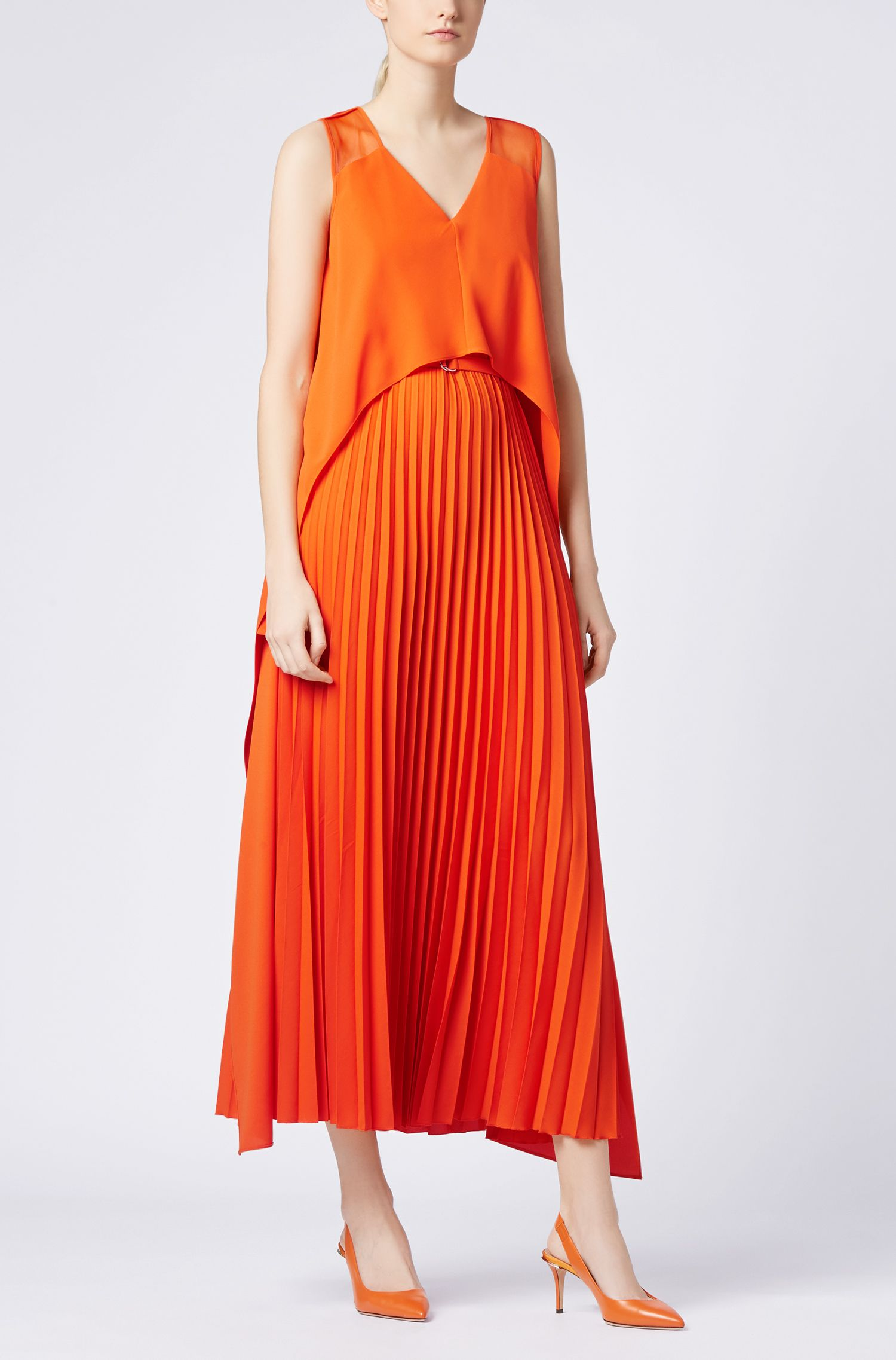 Layered crepe maxi dress with plissé skirt