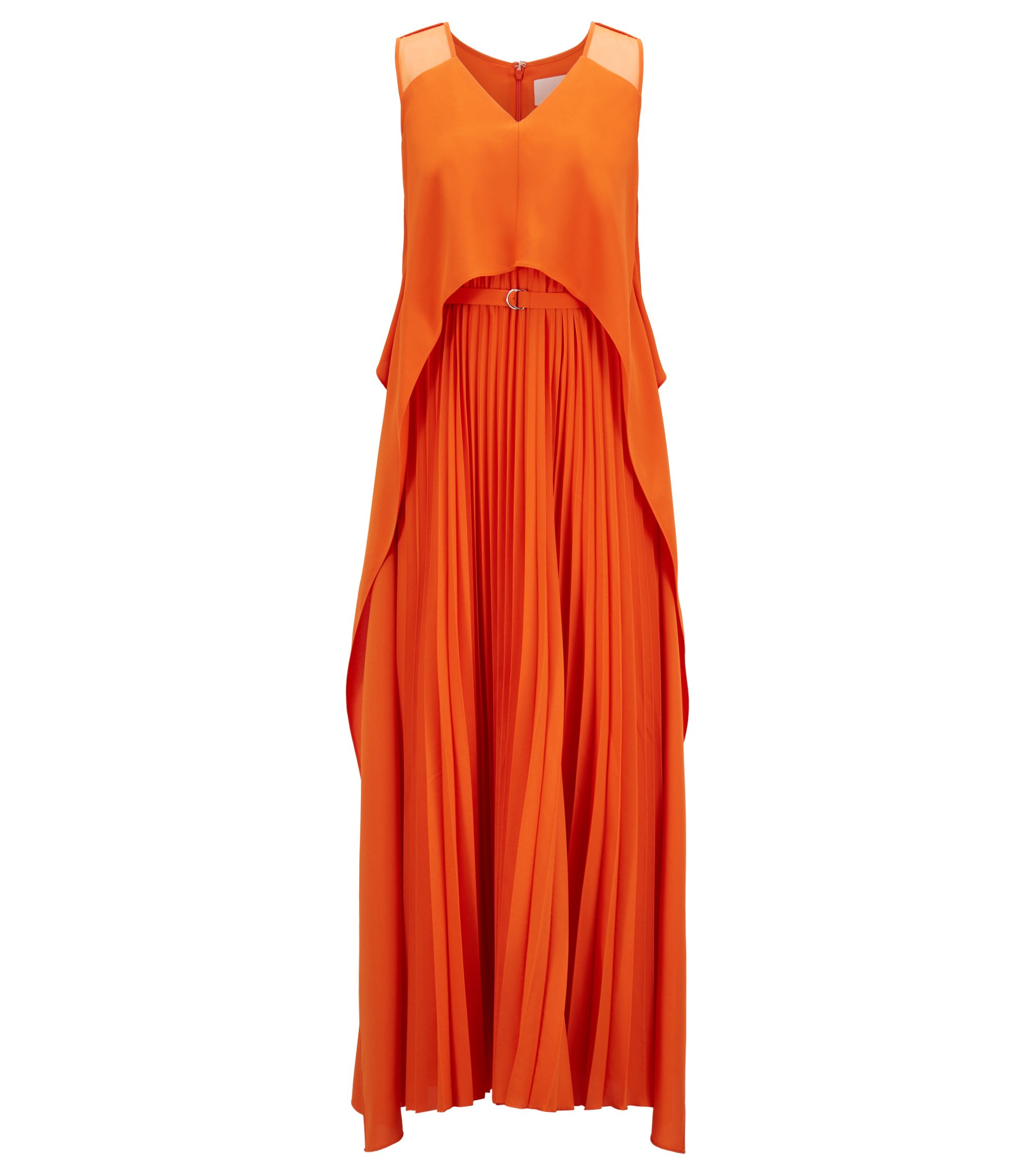 Layered crepe maxi dress with plissé skirt, Orange