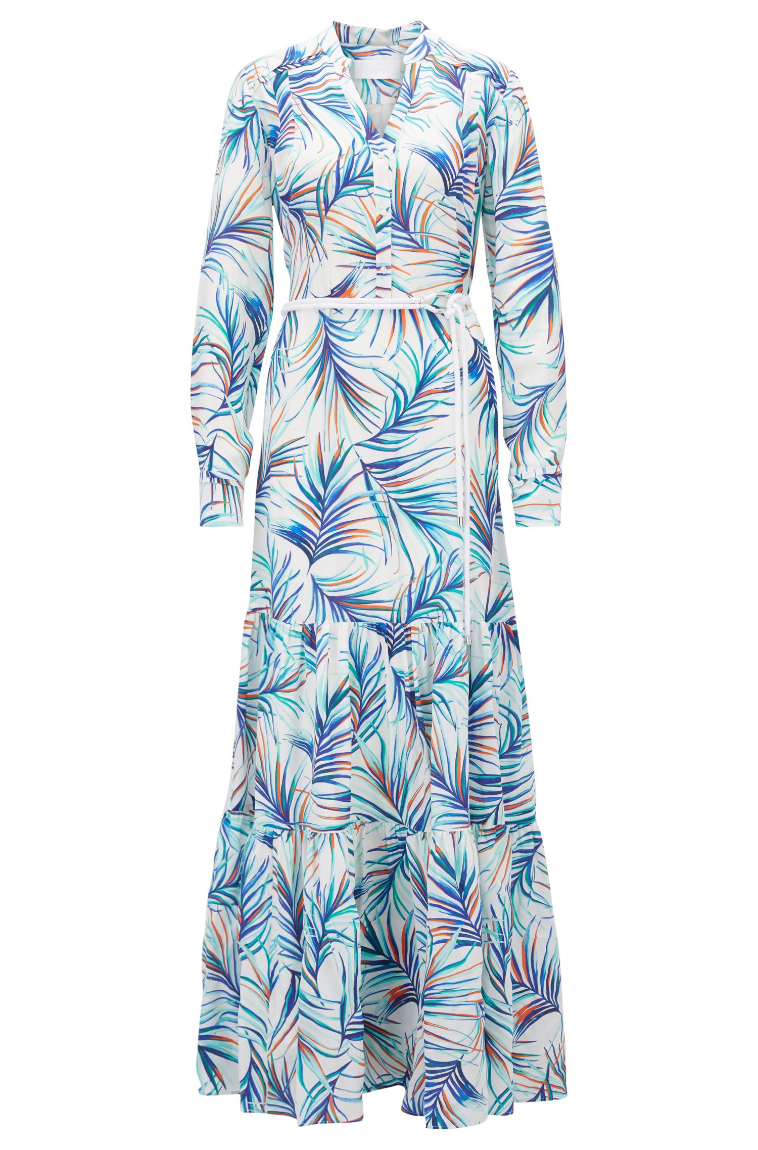 Long-sleeved silk maxi dress in palm-leaf print