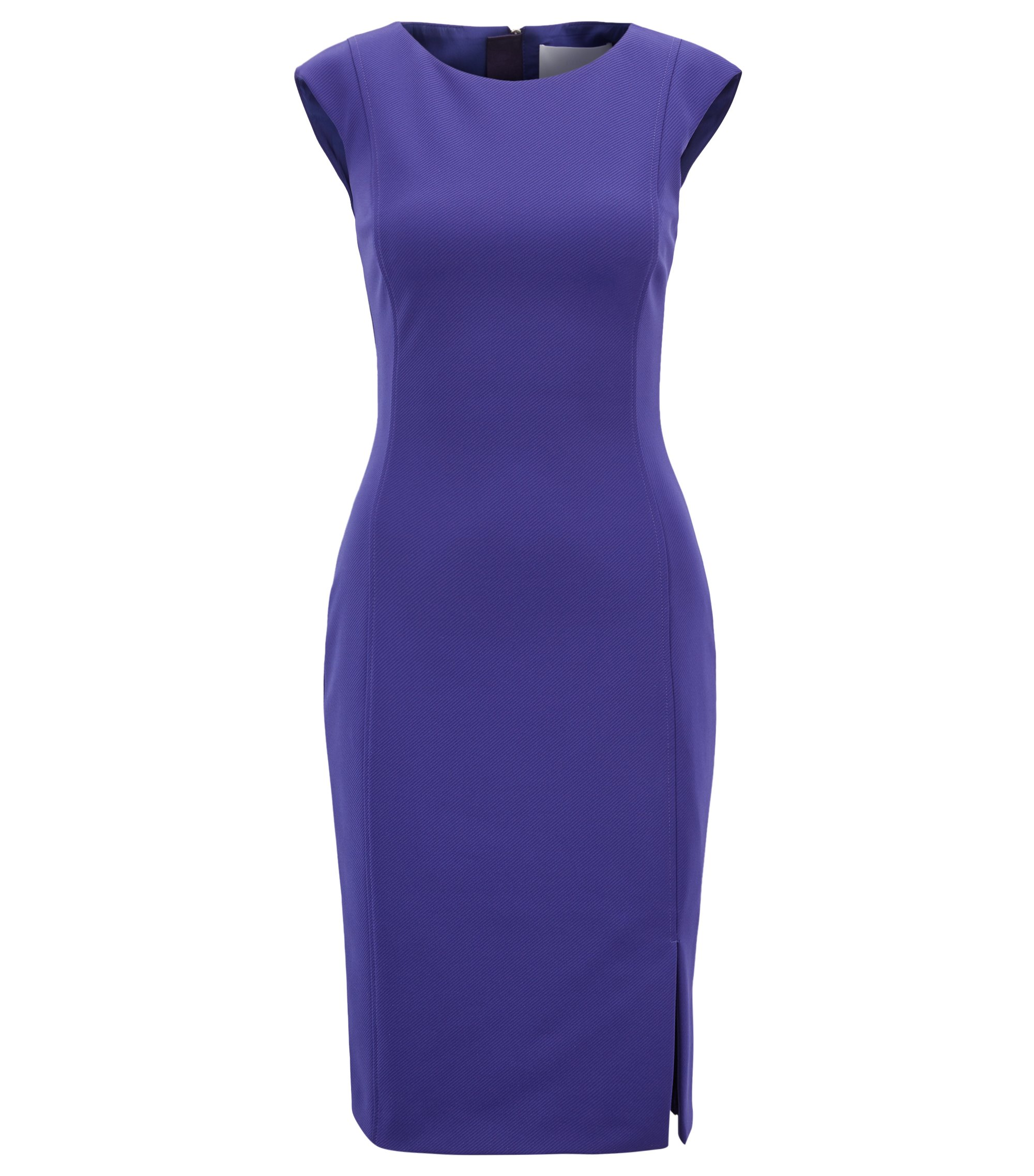 Shift dress in stretch twill with exposed zipper, Open Purple