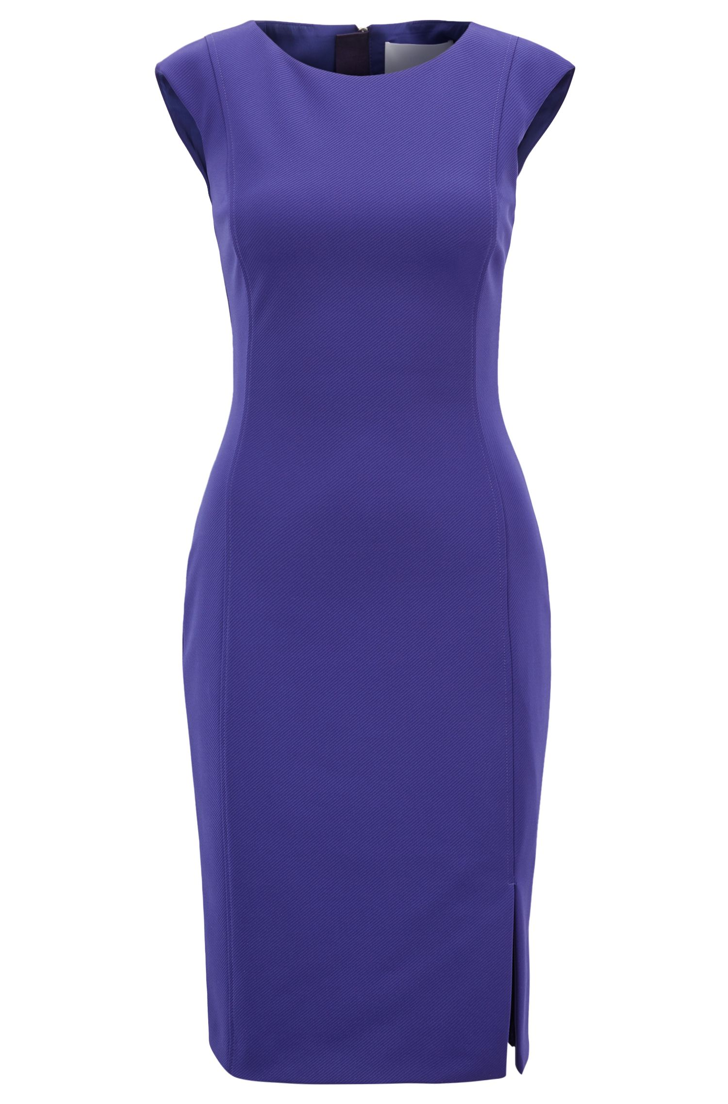 Shift dress in stretch twill with exposed zipper