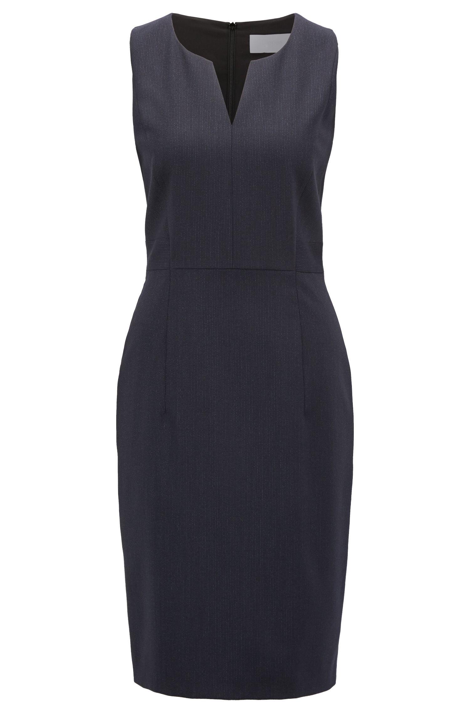 Sleeveless dress in stretch virgin wool, Patterned