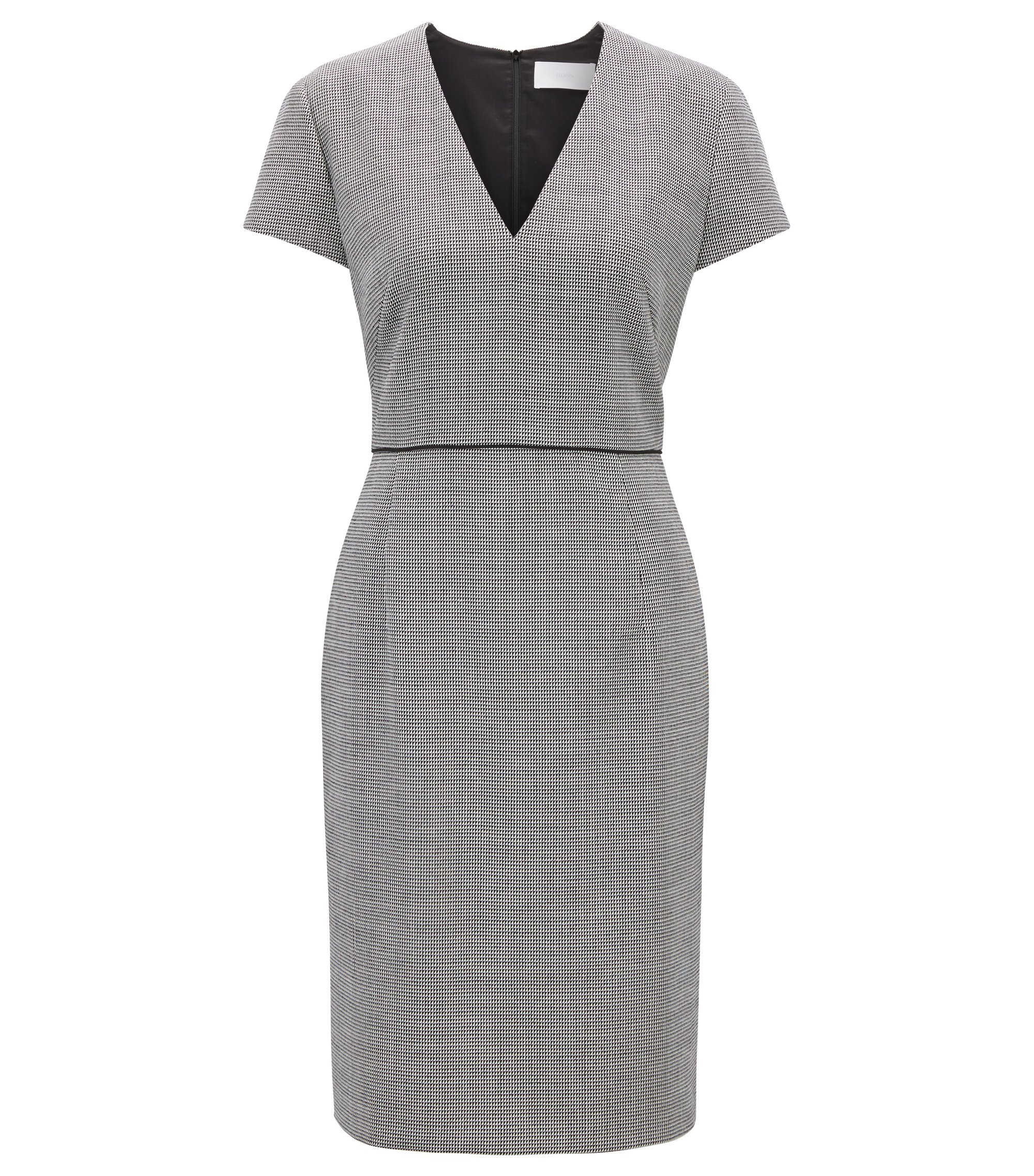 V-neck business dress in micro-pattern fabric, Patterned