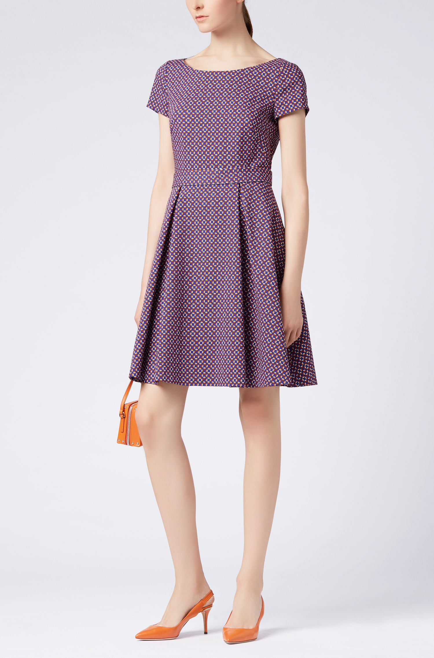 Wide-neck dress in colorful geometric pattern, Patterned