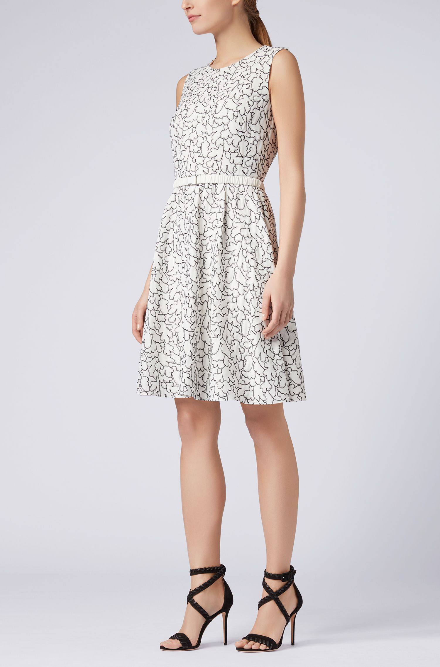 Sleeveless embroidered dress with belt, Patterned