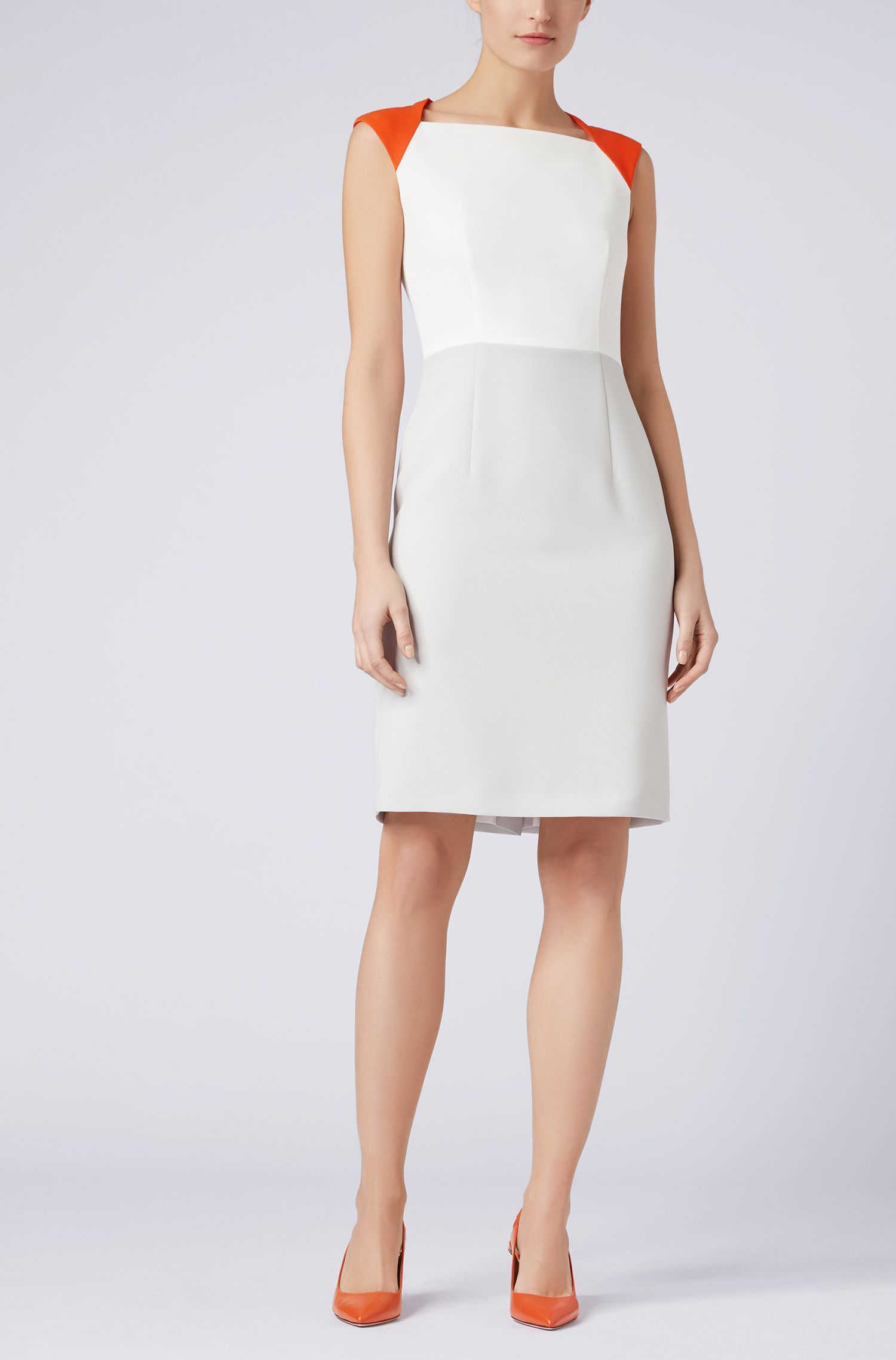 Color-block dress in structured crepe, Silver