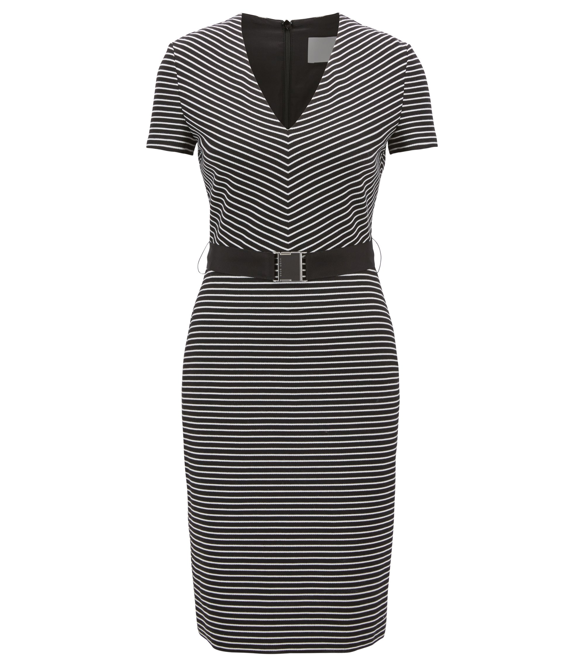 V-neck striped dress in a cotton blend, Patterned