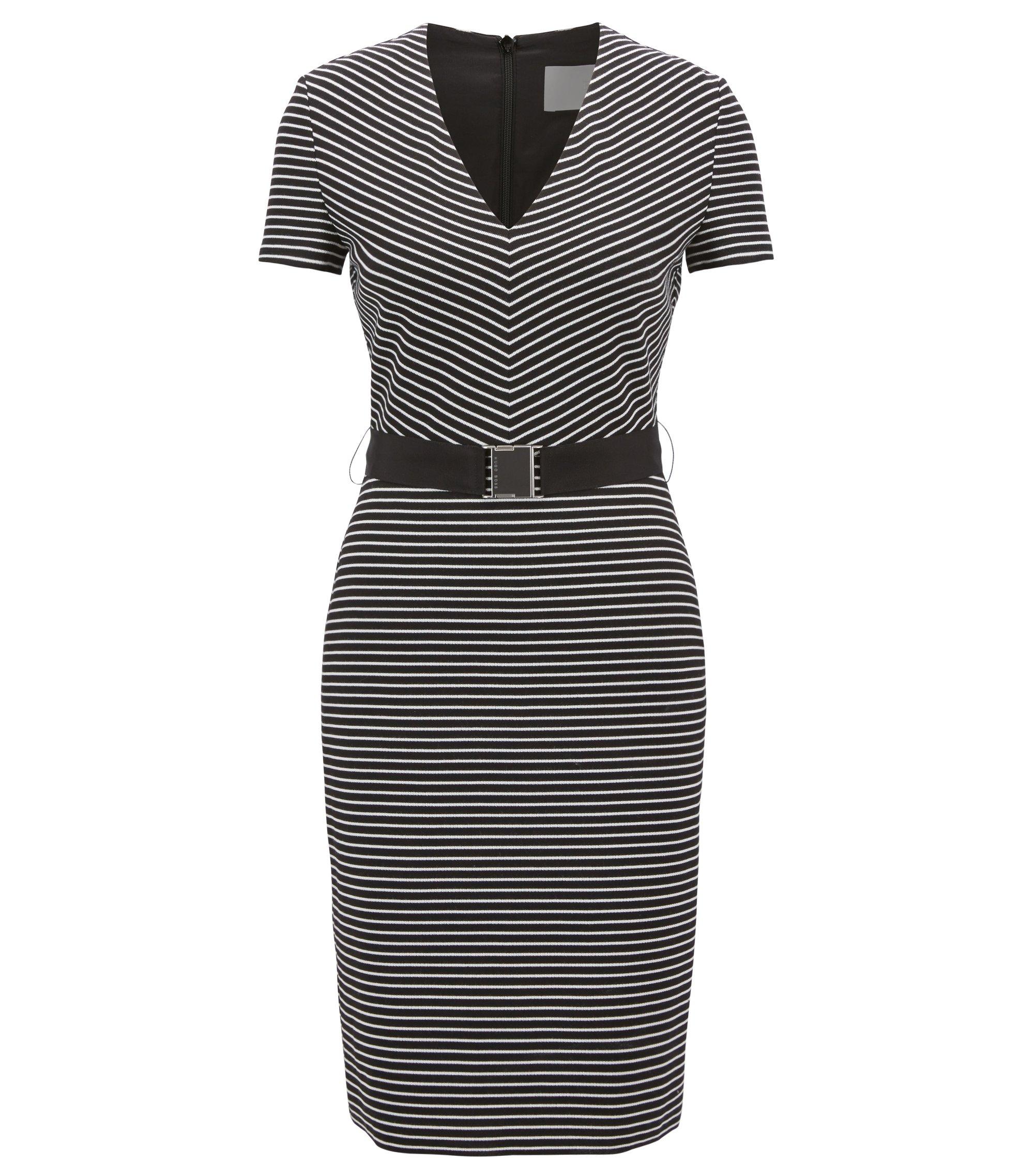 V-neck striped dress in a cotton blend, Patterned