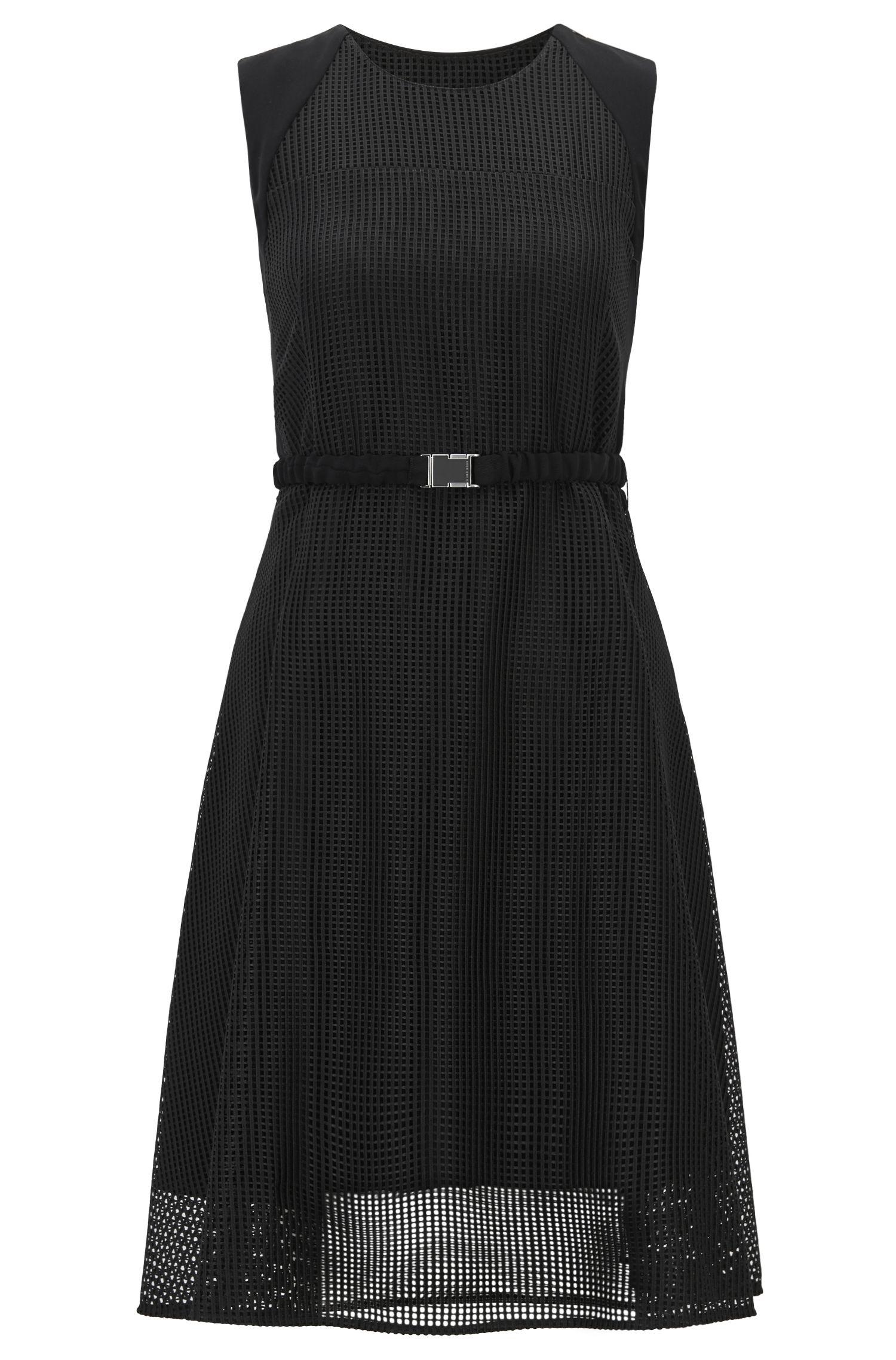 Sleeveless mesh dress with belt, Black