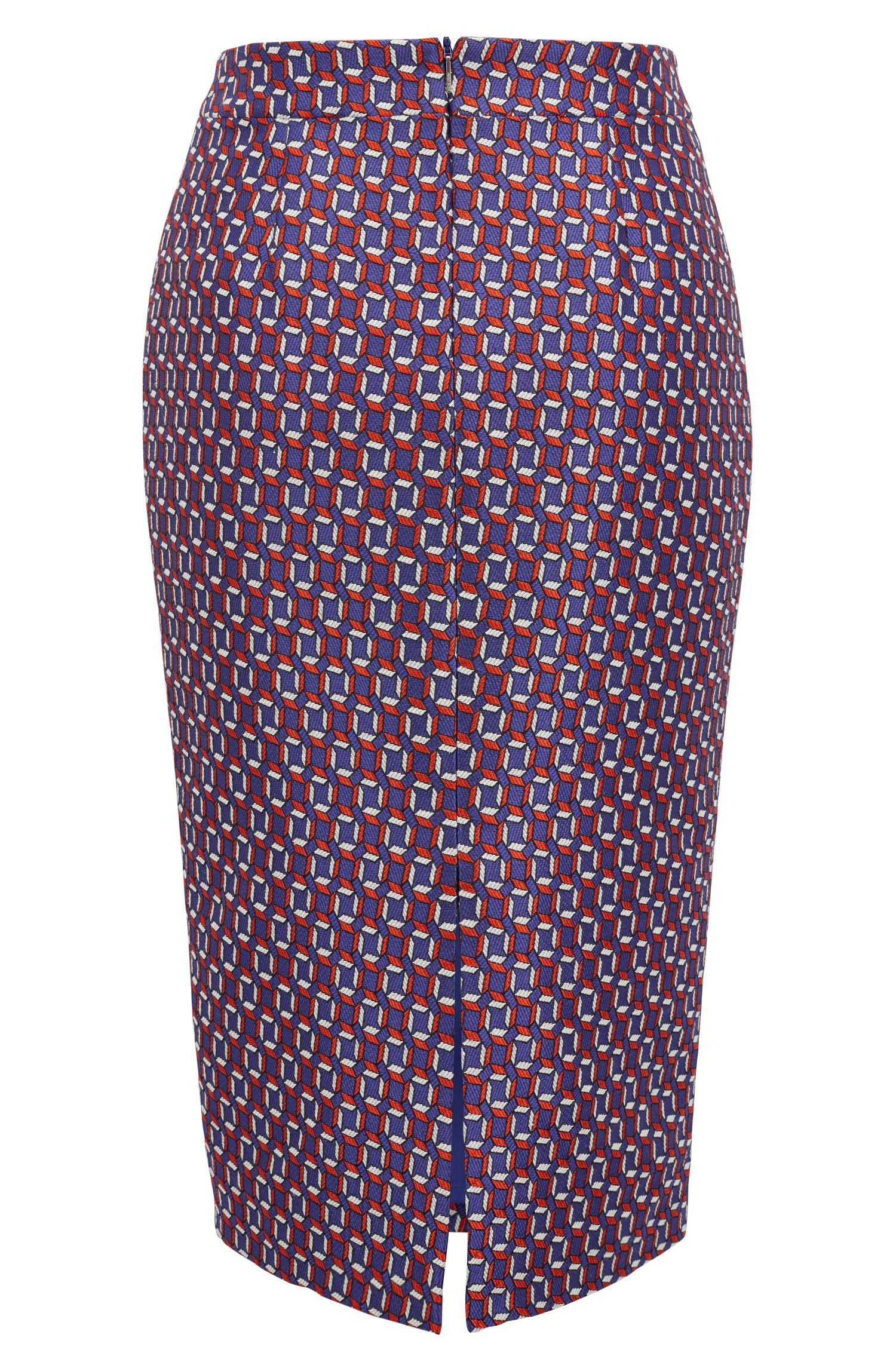 Pencil skirt with scarf-inspired pattern, Patterned