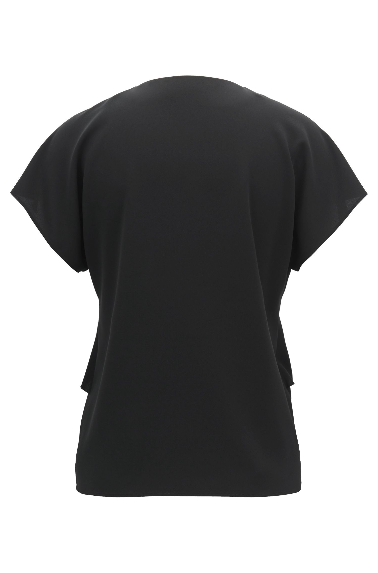 V-neck frilled top in crinkled stretch crepe