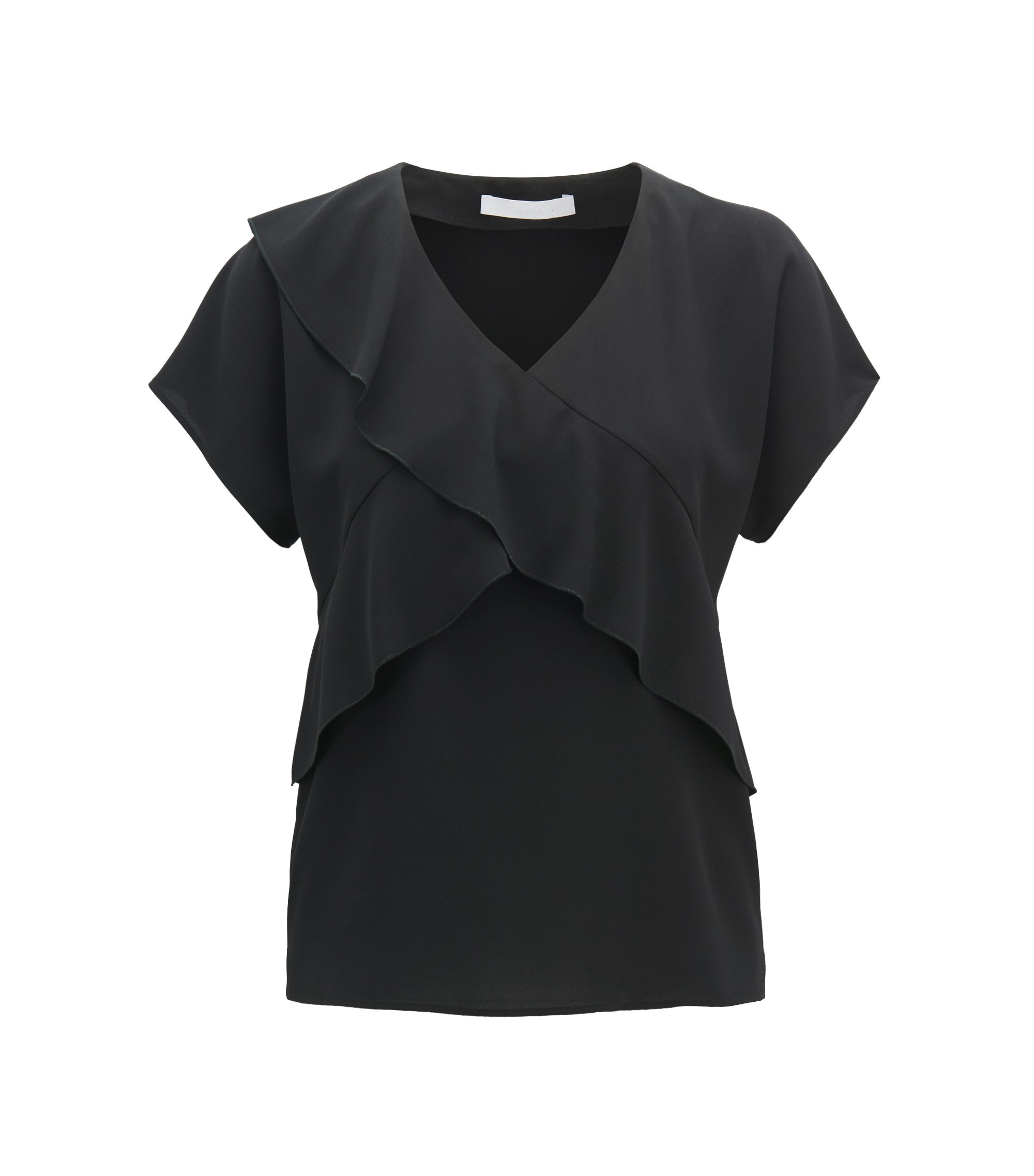 V-neck frilled top in crinkled stretch crepe, Black