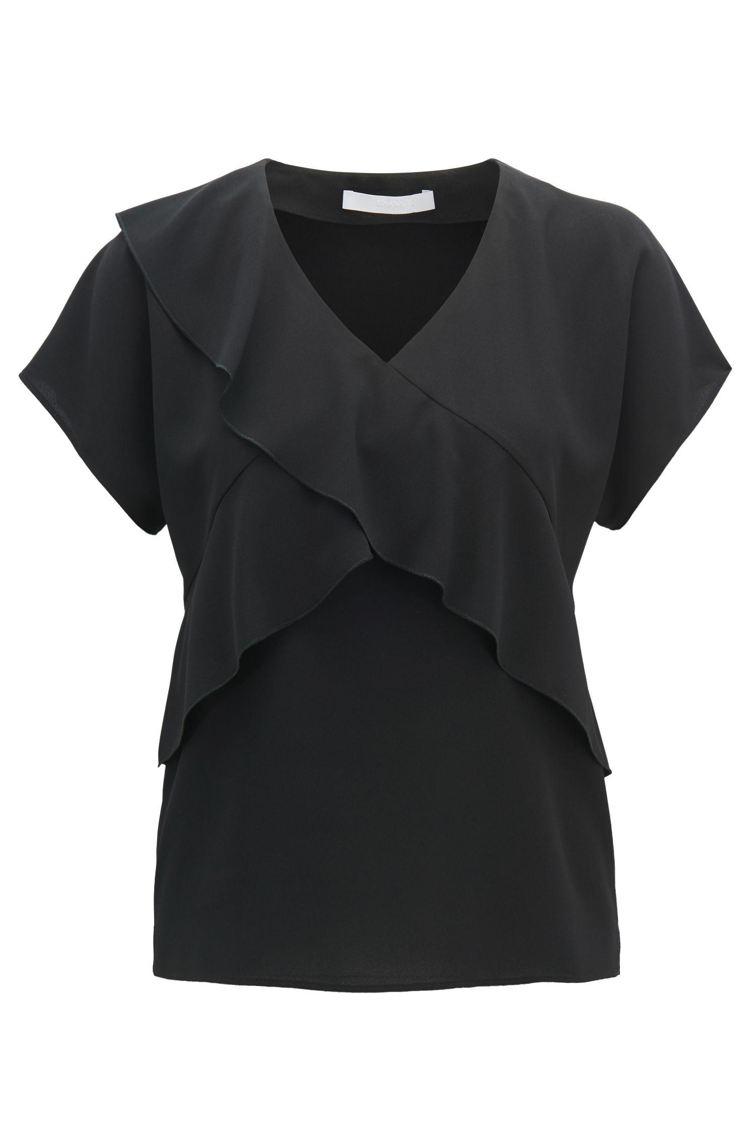 V-neck frilled top in crinkled stretch crepe, Black