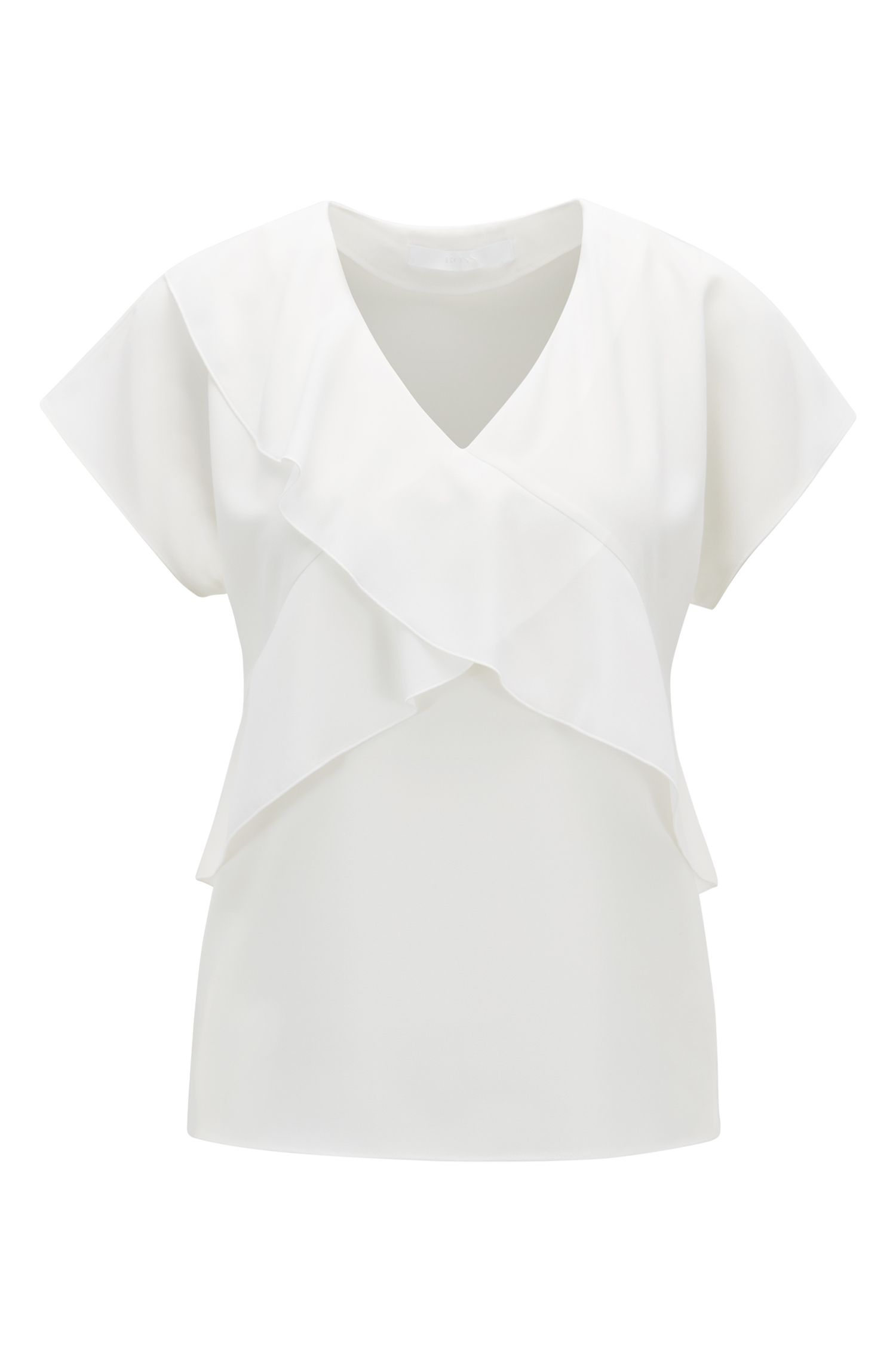 V-neck frilled top in crinkled stretch crepe, Natural