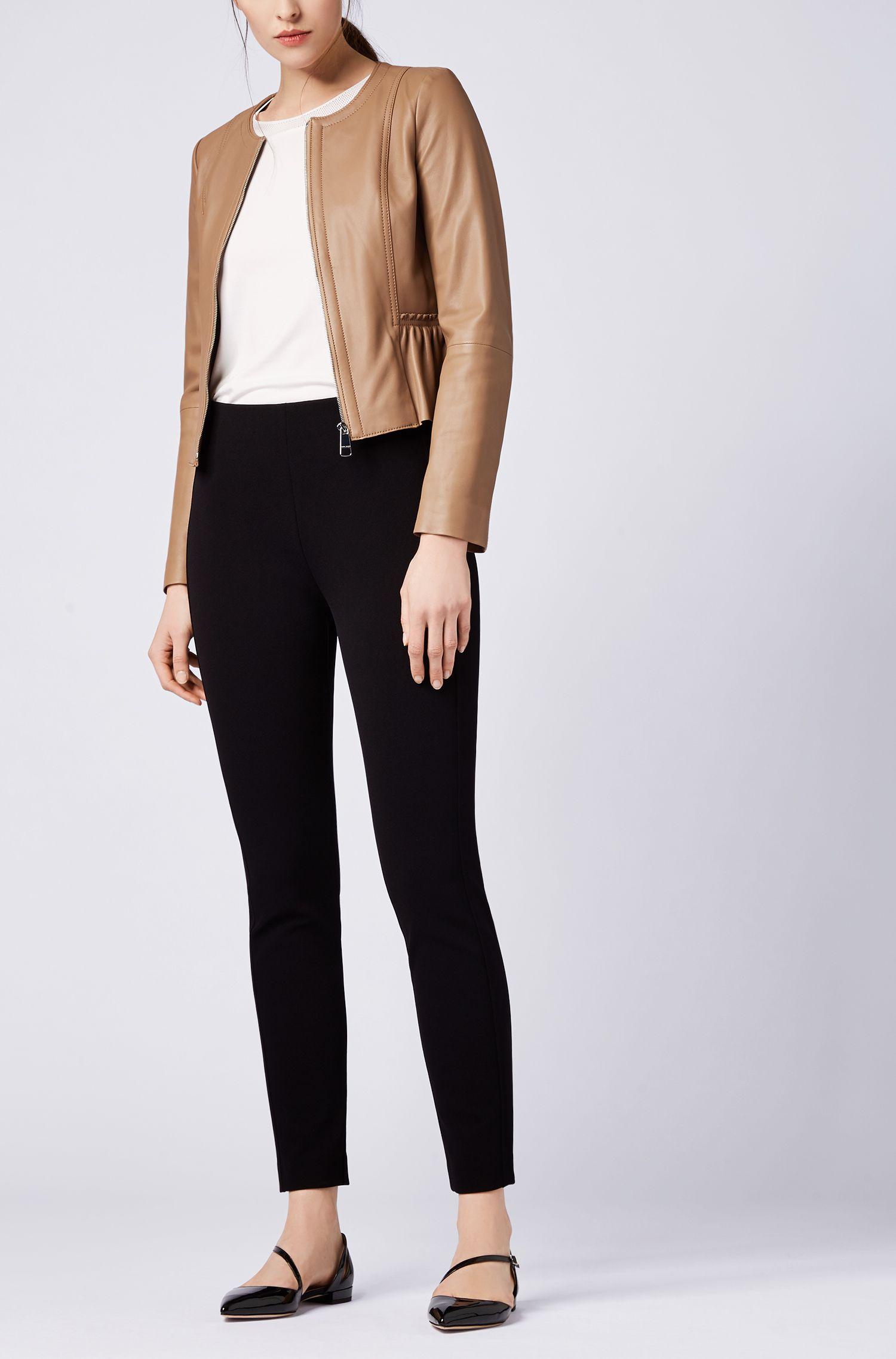Peplum jacket in lambskin nappa leather, Beige