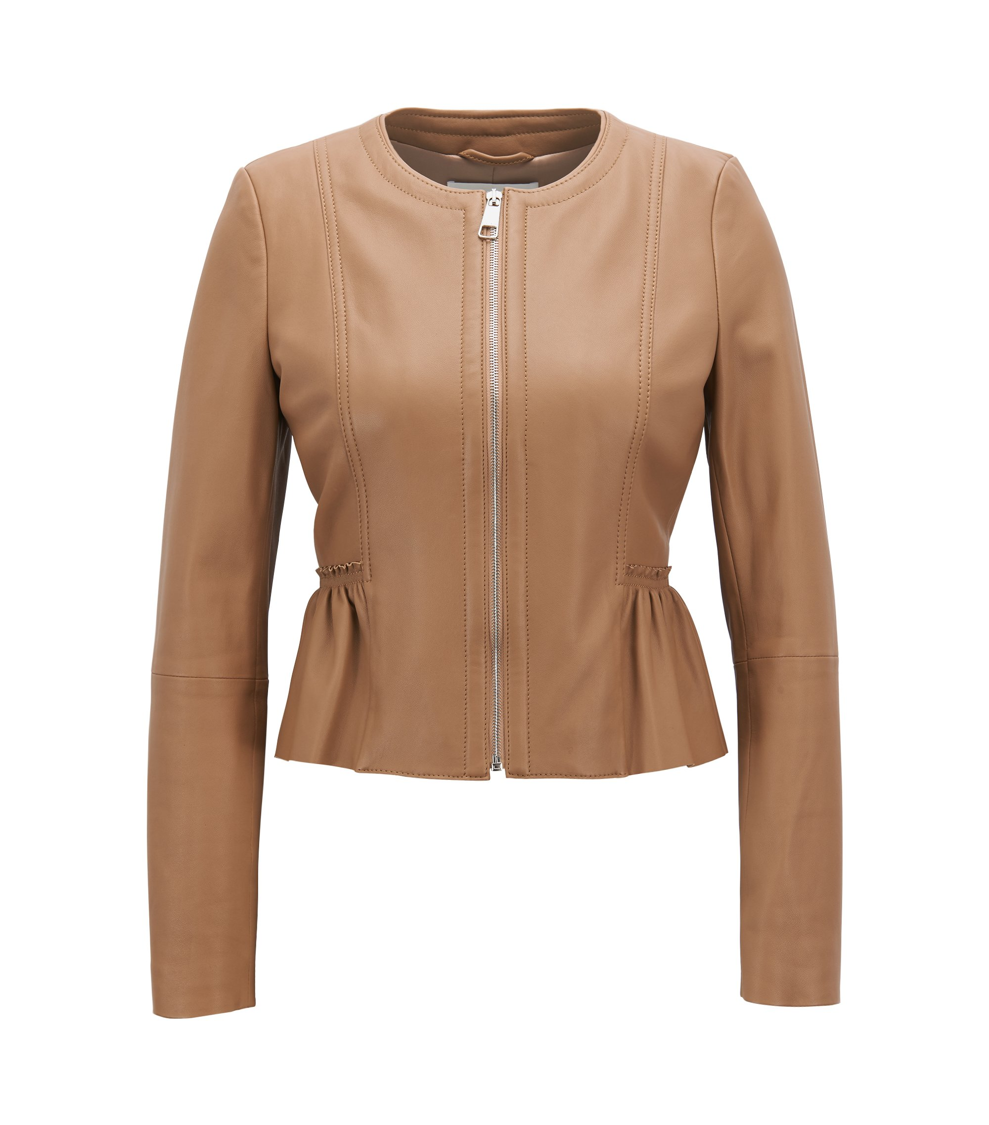 Peplum jacket in lambskin nappa leather, Beige