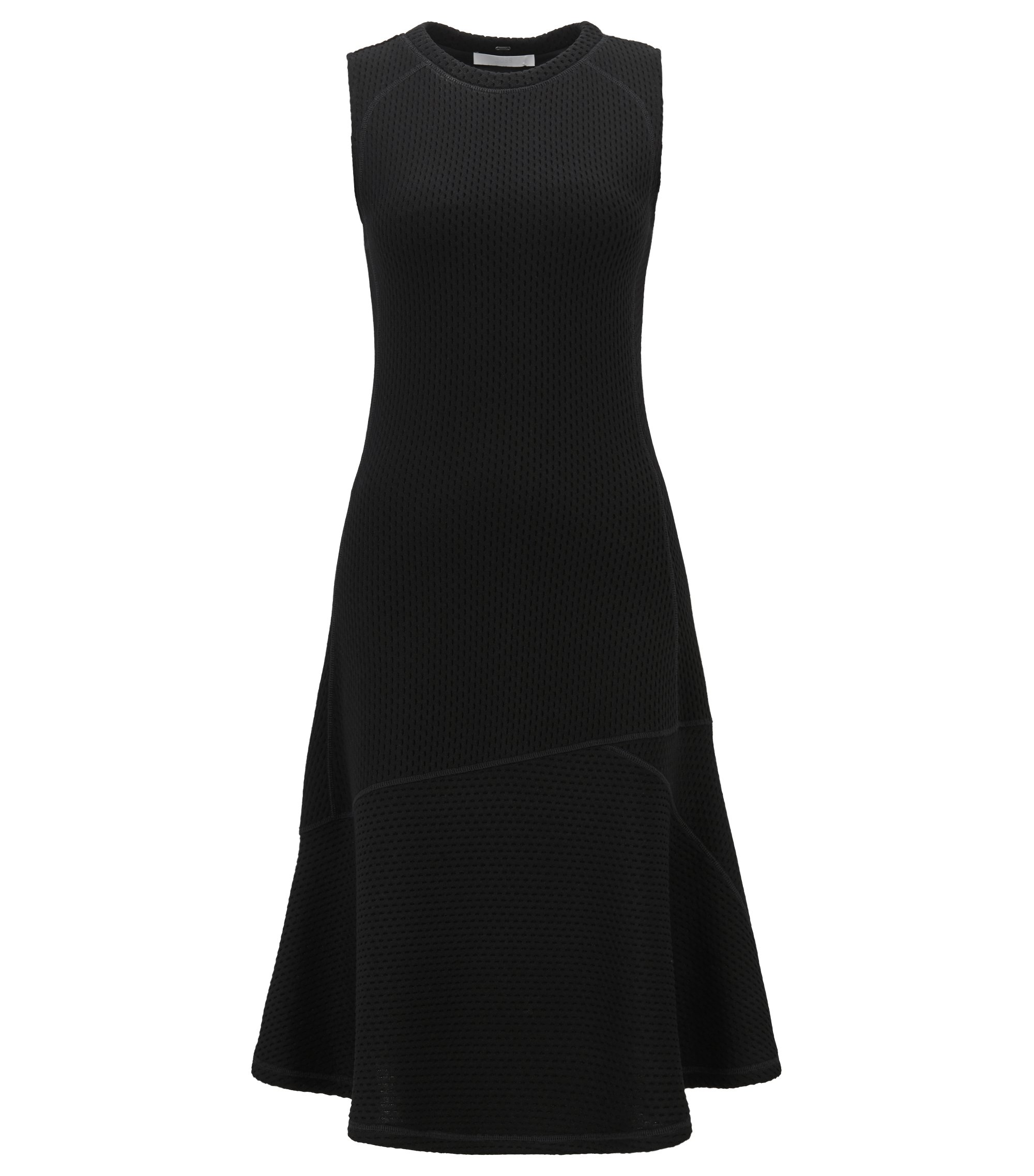 Sleeveless jersey dress with mesh structure, Black