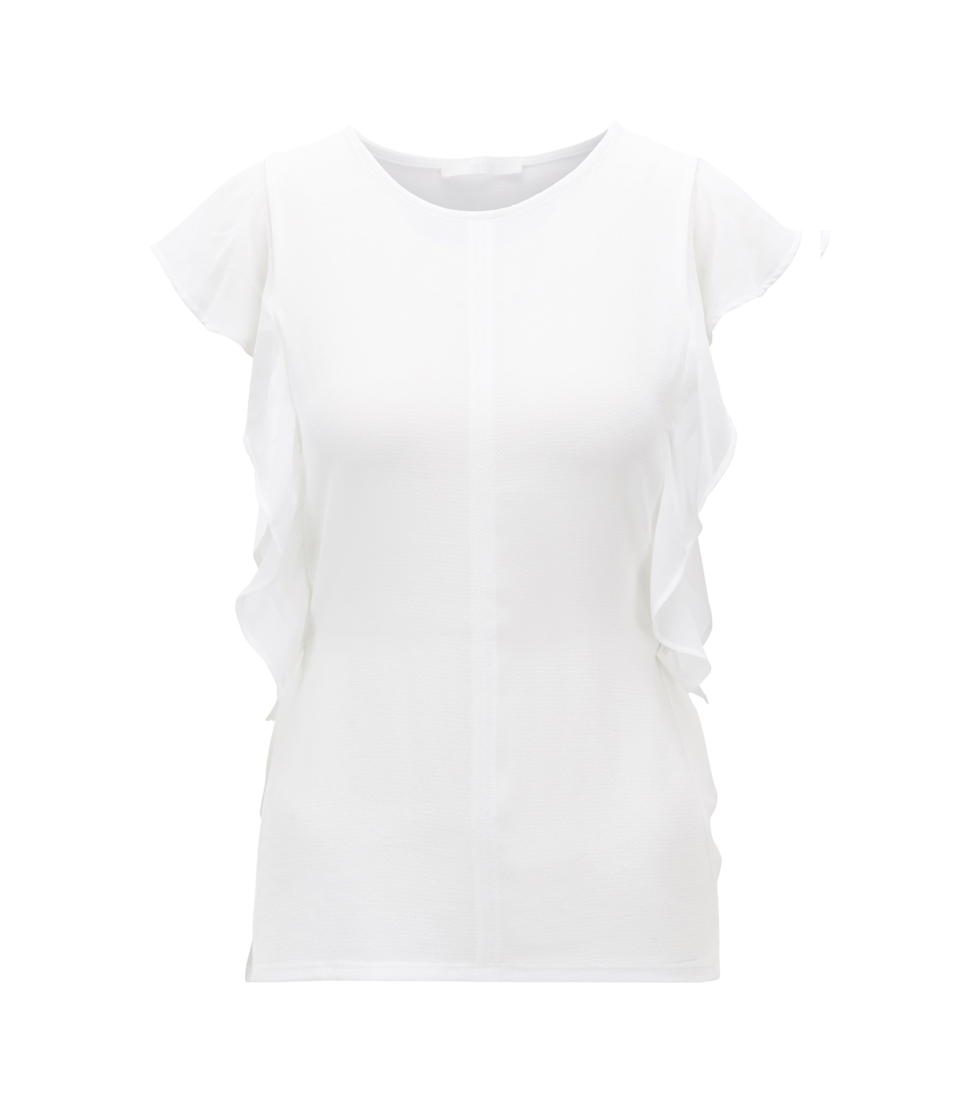 Sleeveless top with frill detail and side-seam buttons, Natural