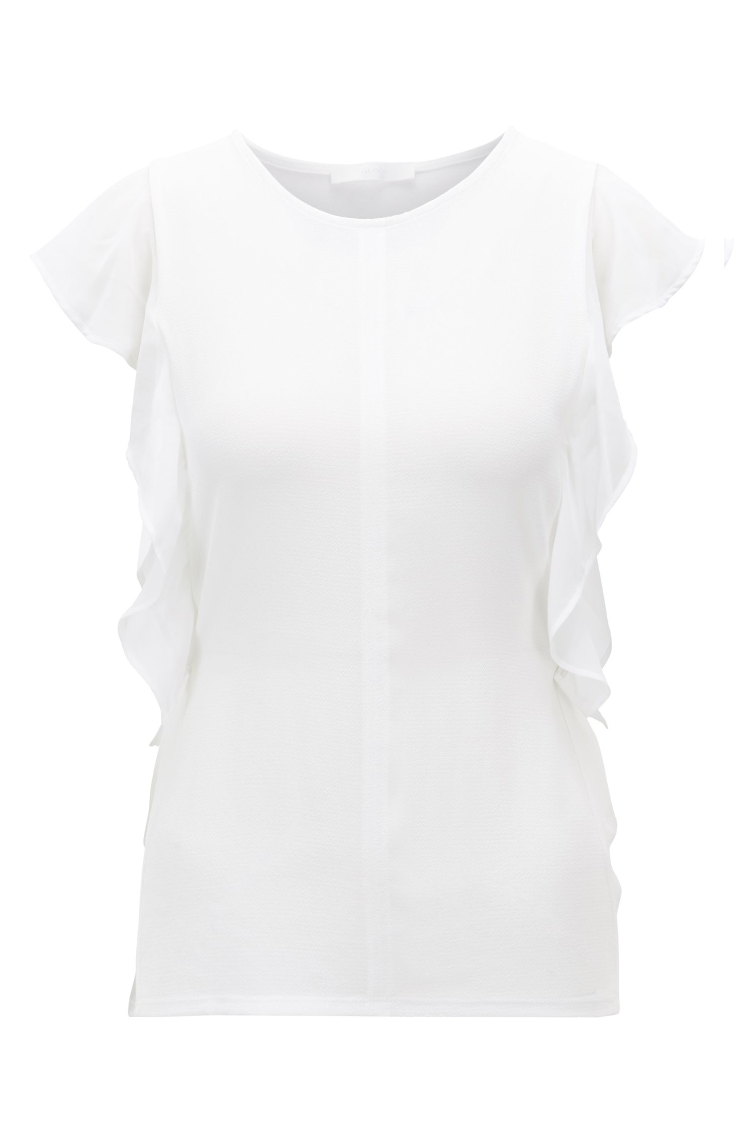 Sleeveless top with frill detail and side-seam buttons