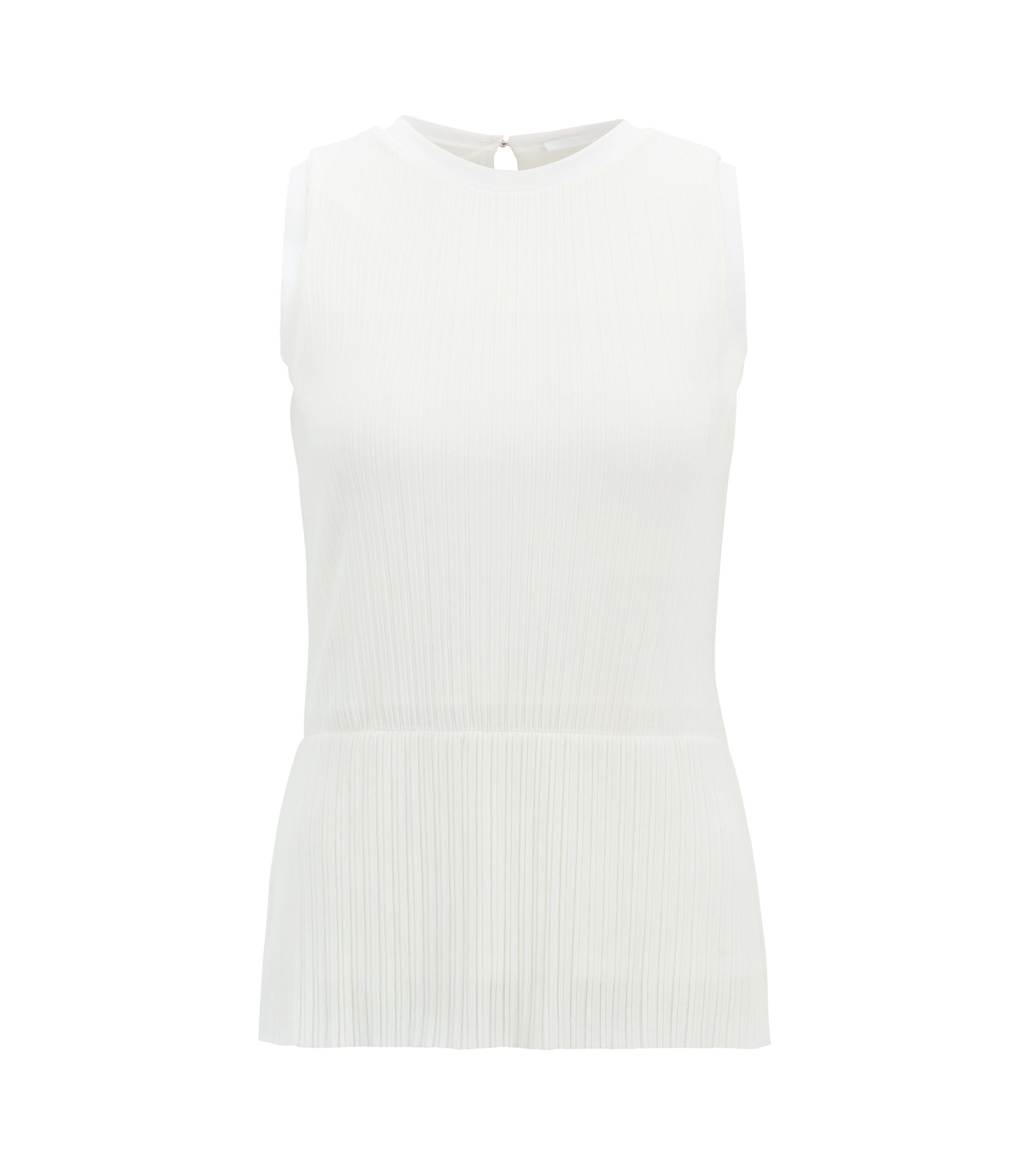 Plissé-pleat peplum top in extra-fine jersey, Natural