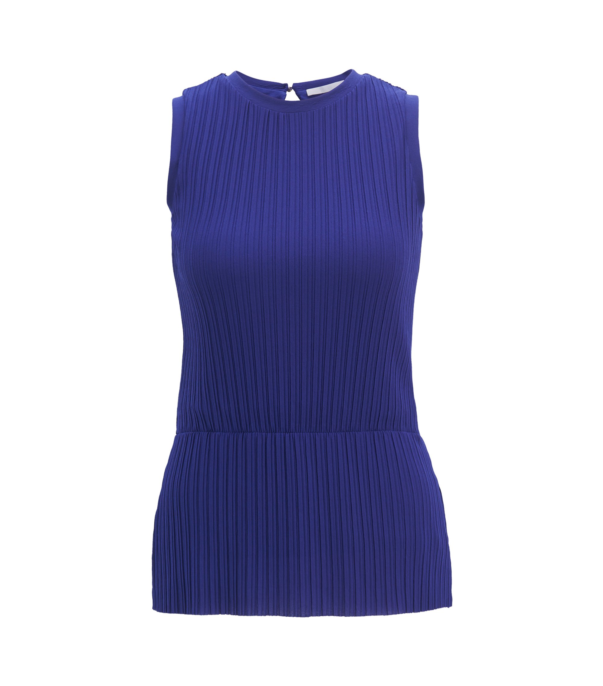 Plissé-pleat peplum top in extra-fine jersey, Open Purple