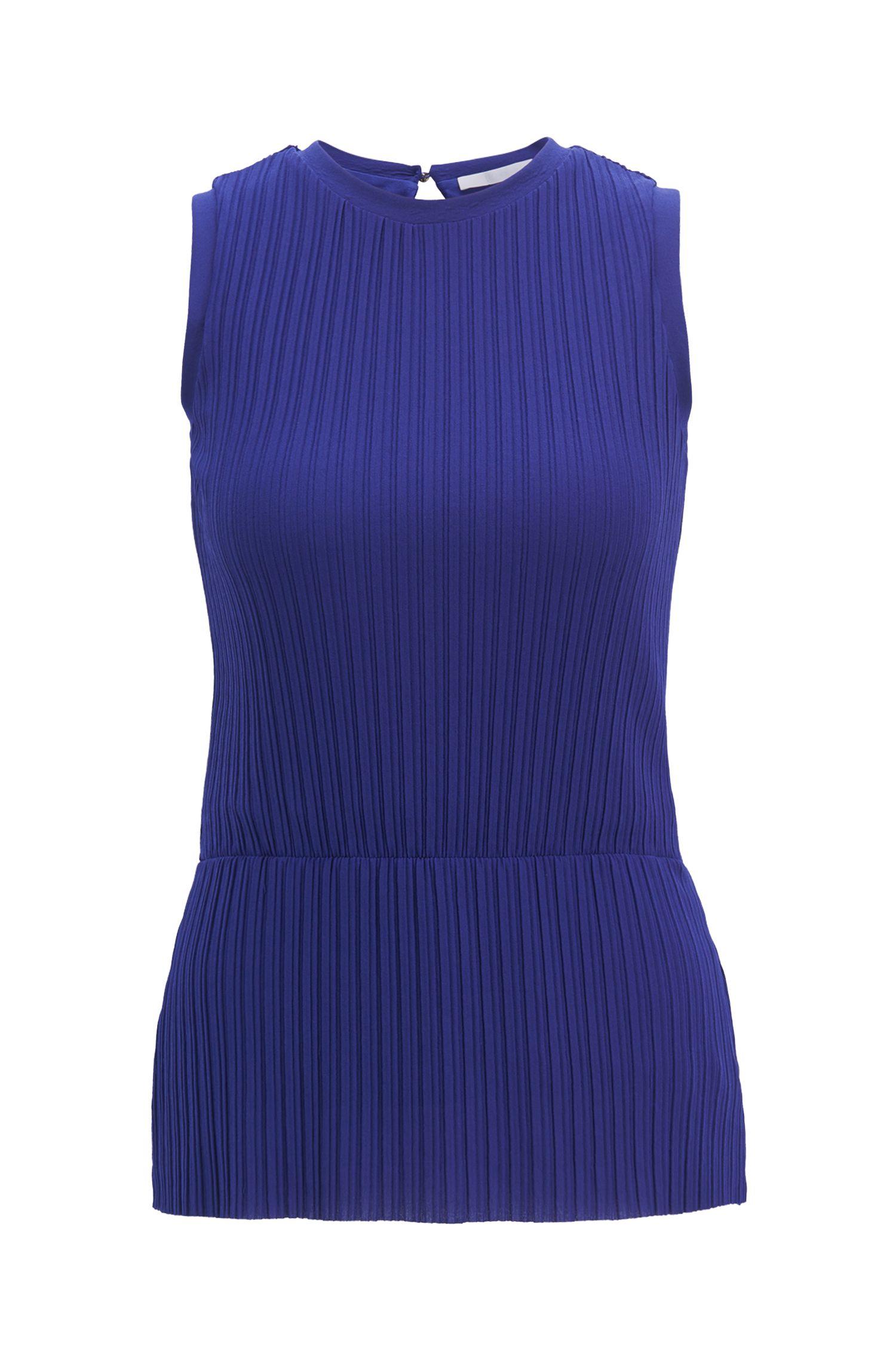 Plissé-pleat peplum top in extra-fine jersey, Open Purple