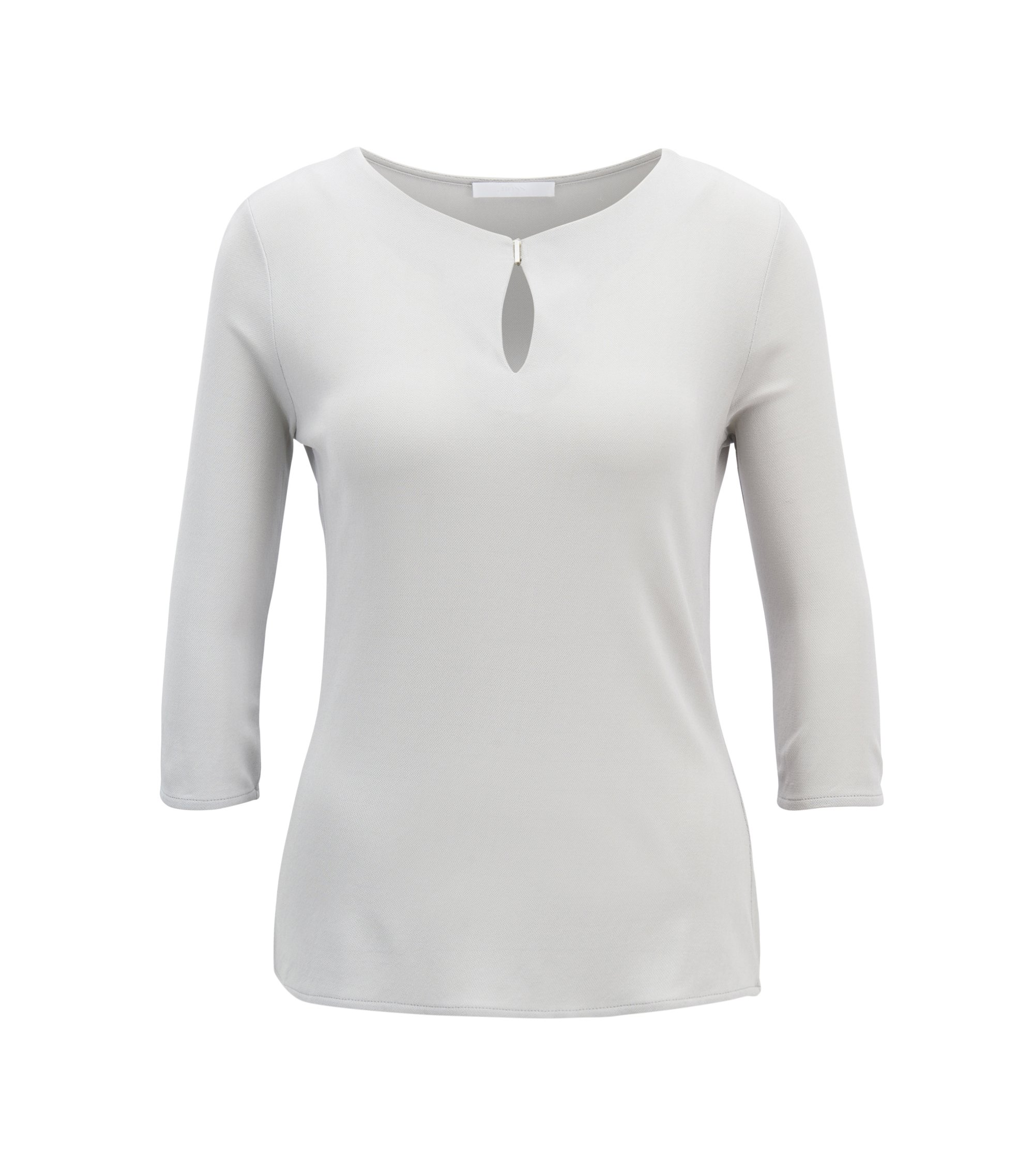 Regular-fit top in stretch crêpe jersey, Silver