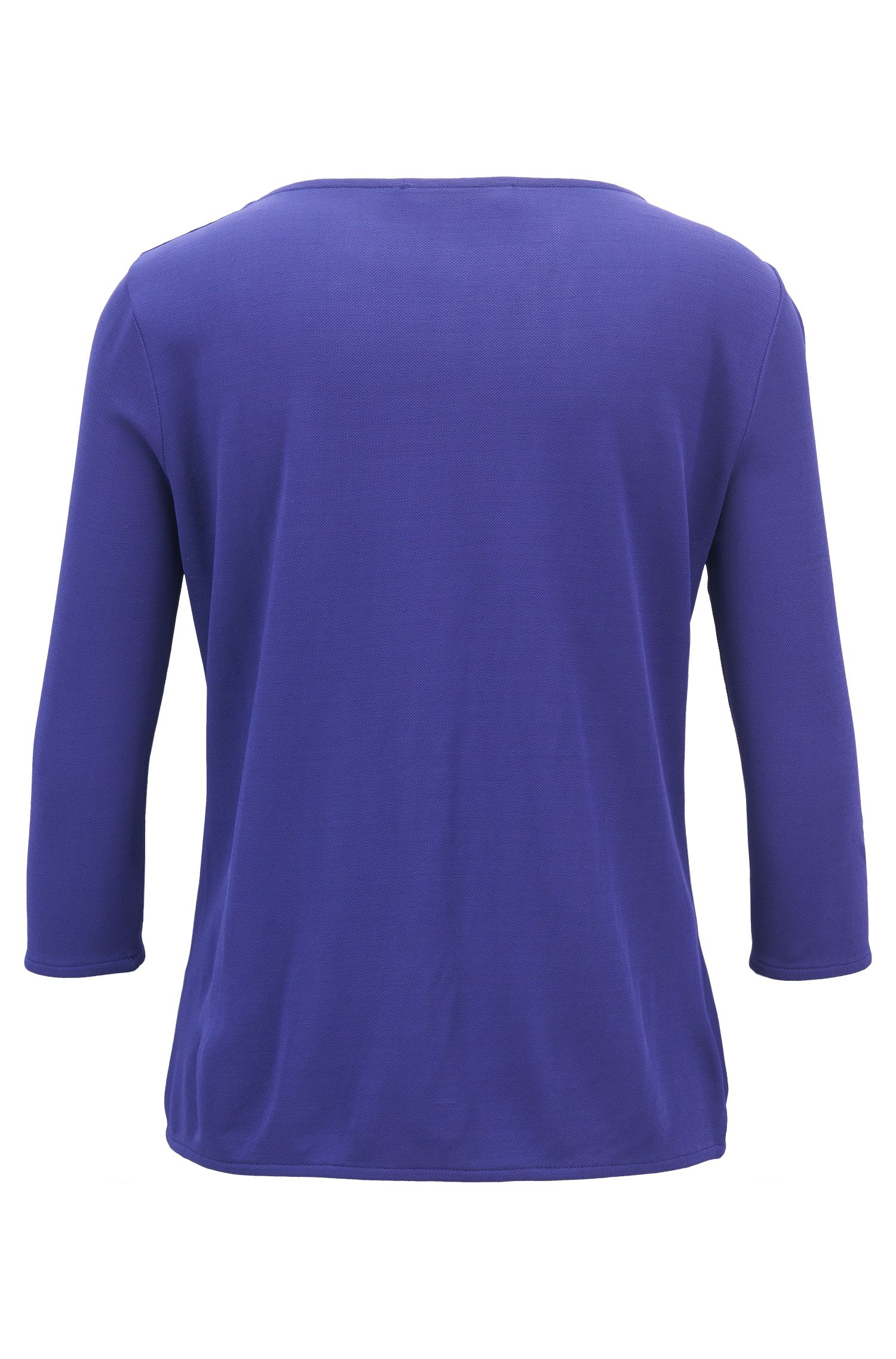 Regular-fit top in stretch crêpe jersey, Open Purple