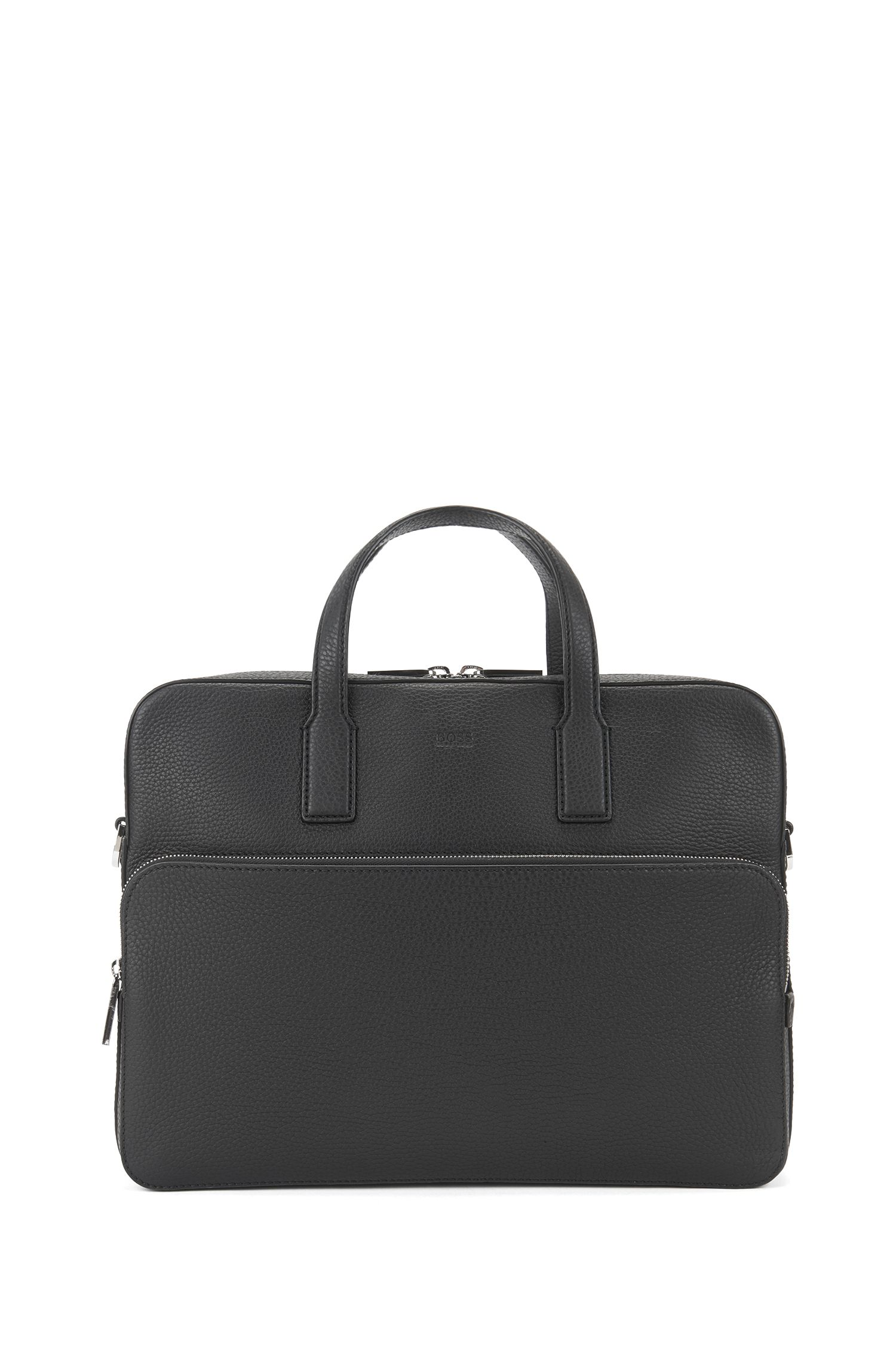Single document case in grained Italian leather