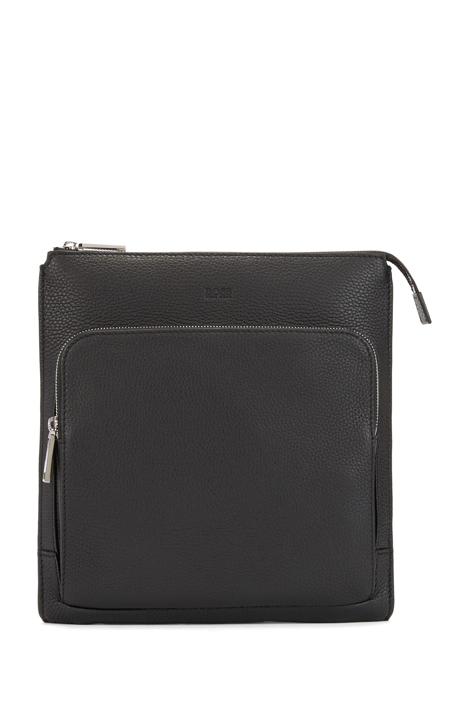 Envelope bag in grainy Italian leather with embossed logo, Black