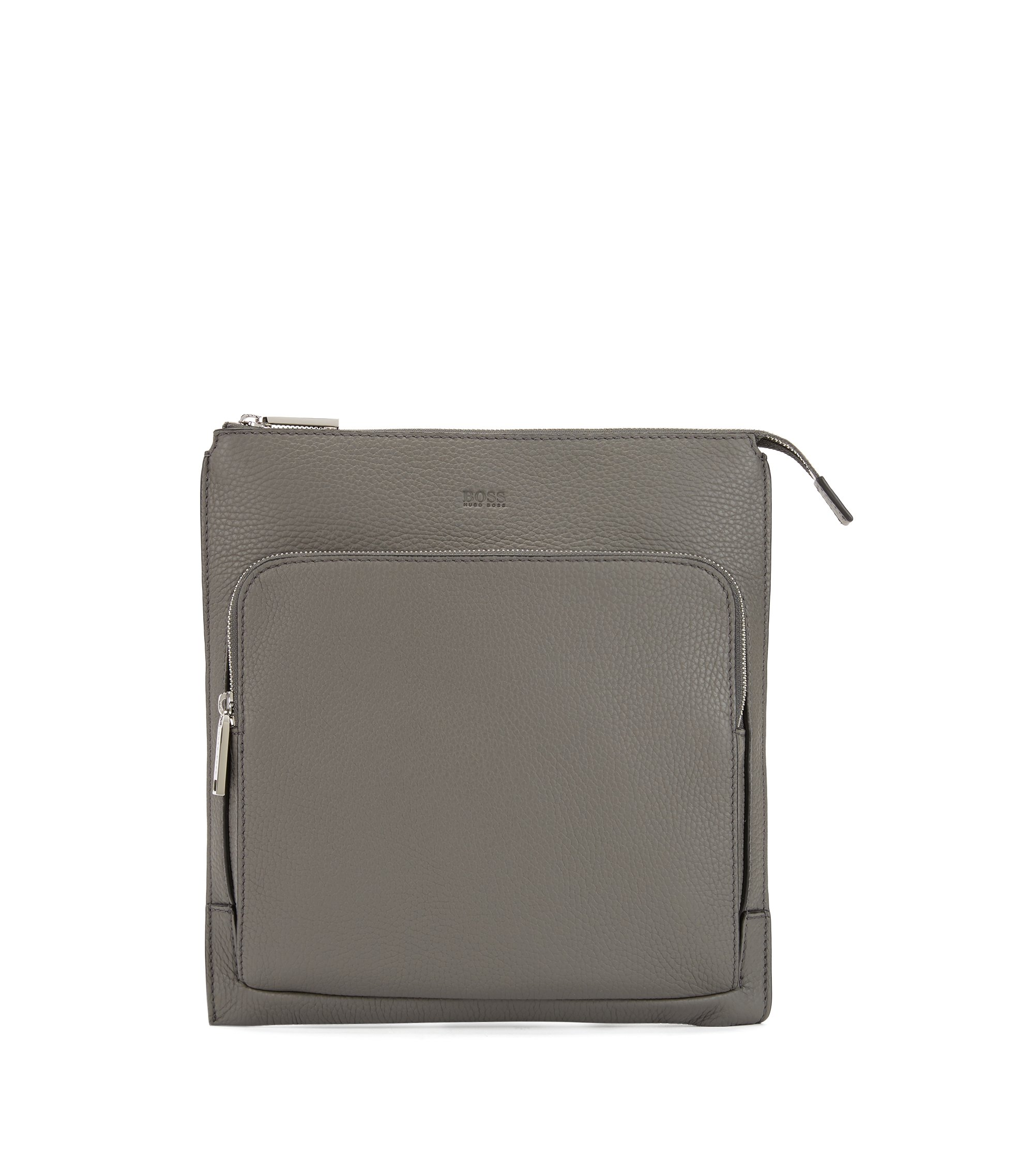 Envelope bag in grainy Italian leather with embossed logo, Grey