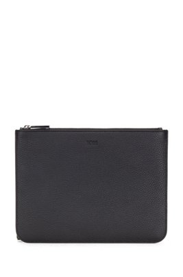 Portfolio case in grained Italian leather with detachable handle, Black