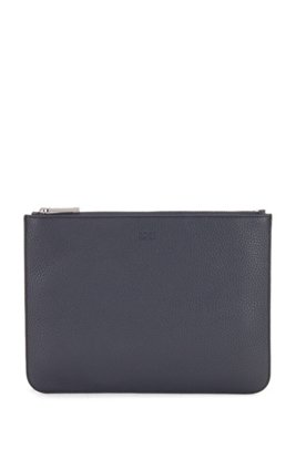 Portfolio case in grained Italian leather with detachable handle, Dark Blue