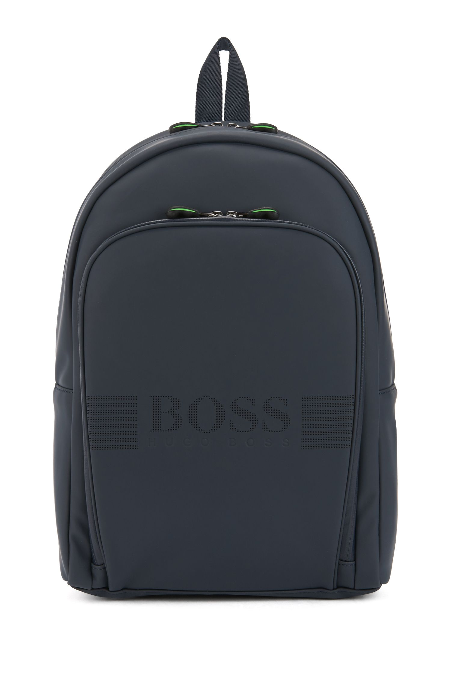 Rubberized backpack with pixelated logo, Dark Blue